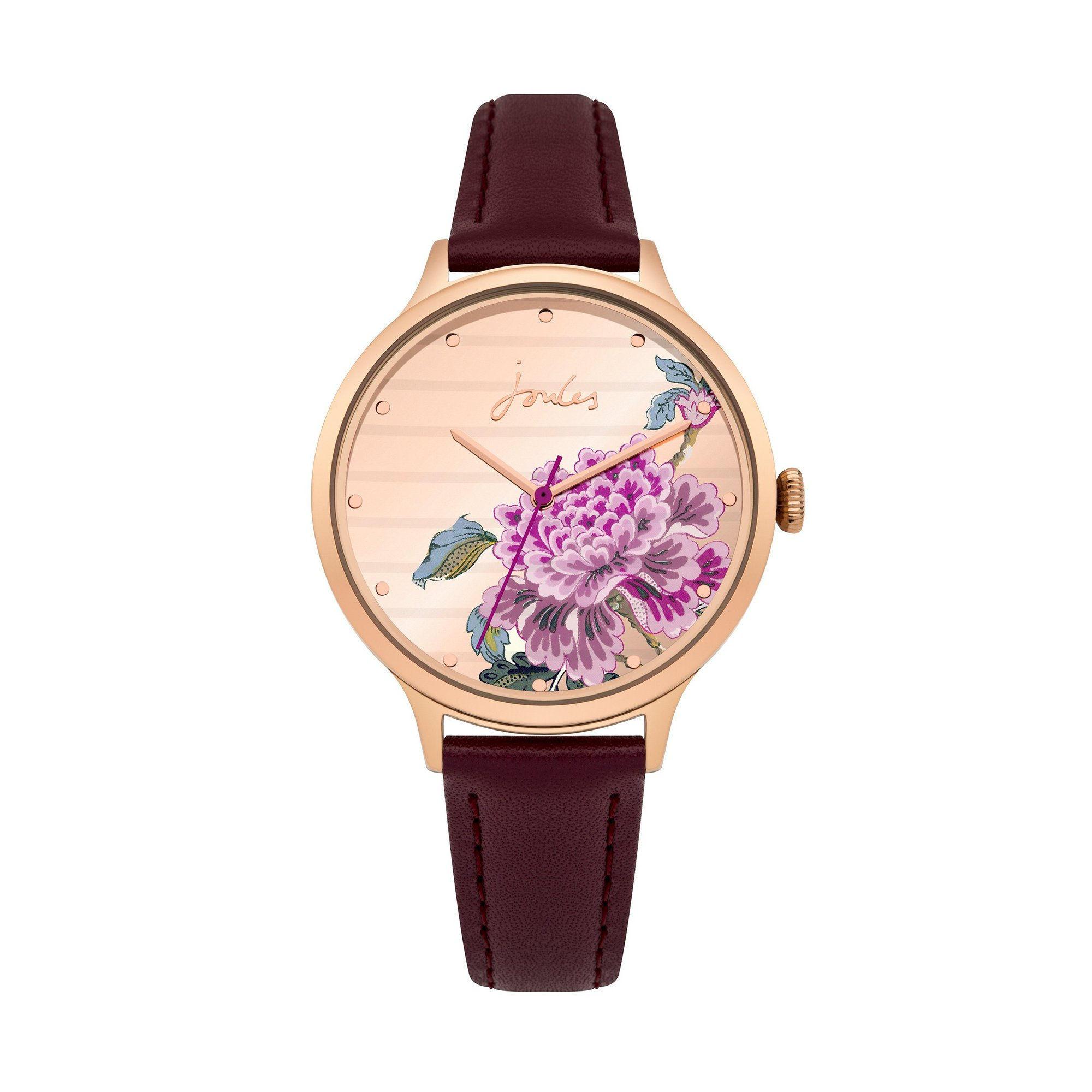 Image of Joules Bloom Purple Leather Strap Watch