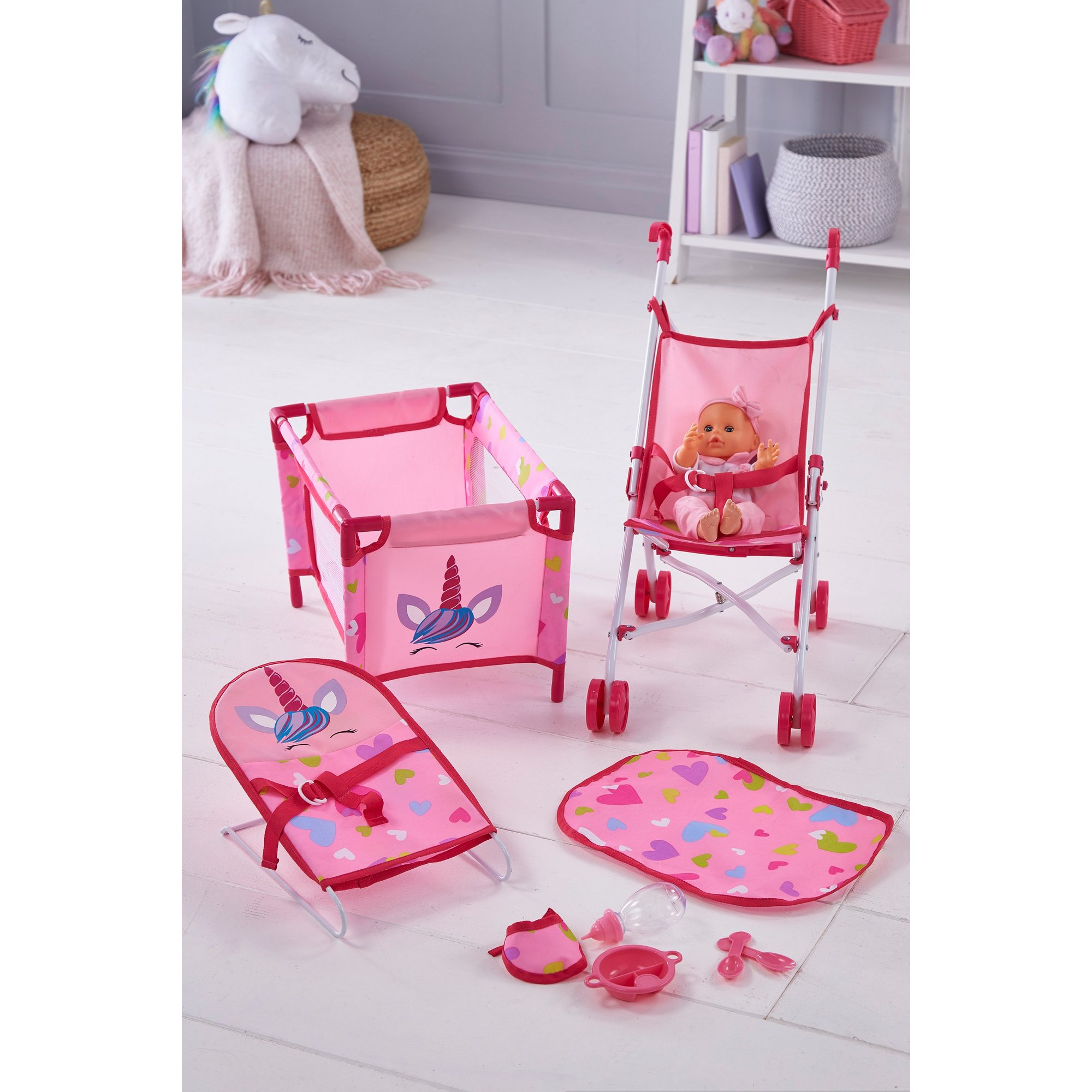 Image of Bambolina Doll Set with Stroller Bouncer and Travel Cot