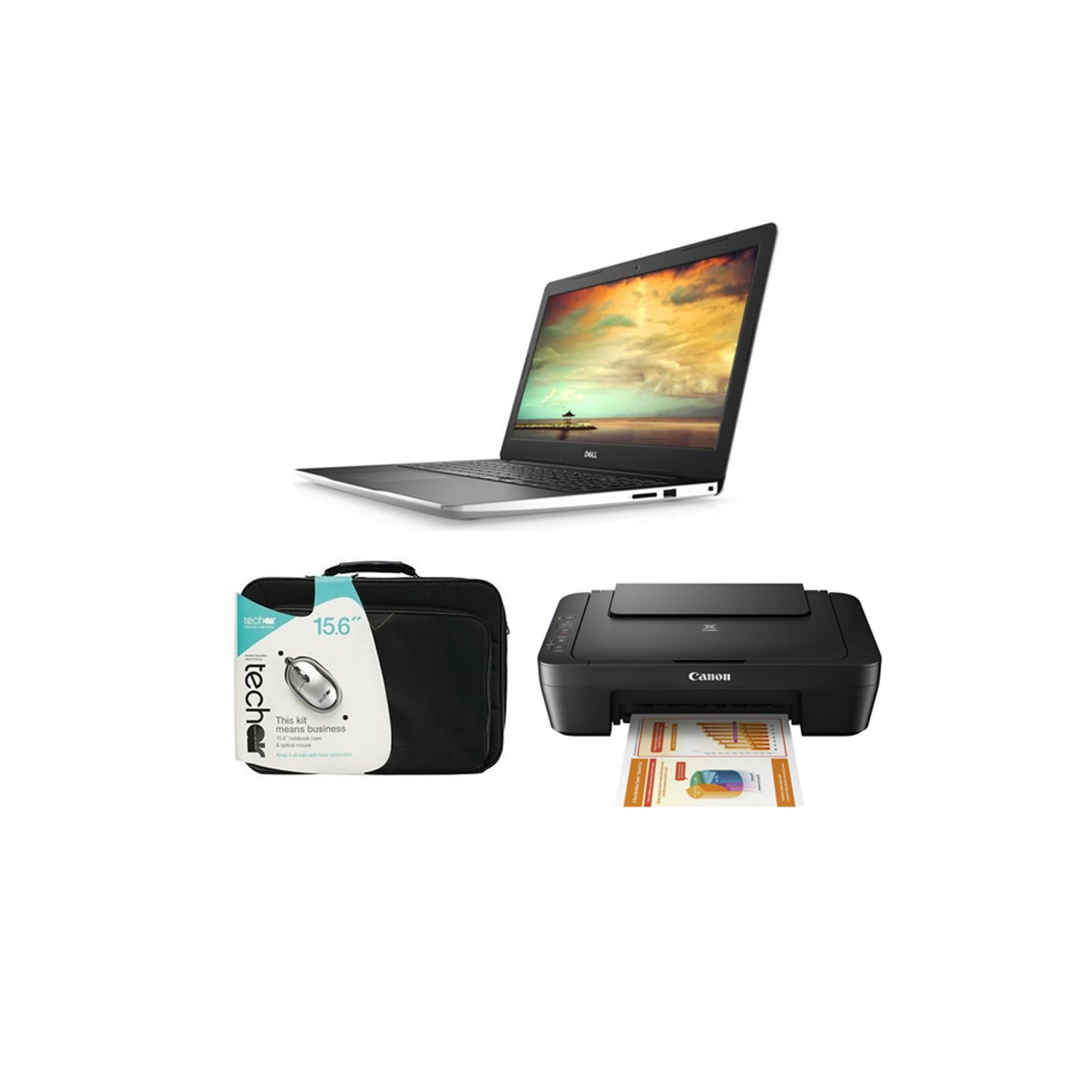 Image of DELL Inspiron 15 Inch 3000 Win10 Laptop - Case and Printer Bundle