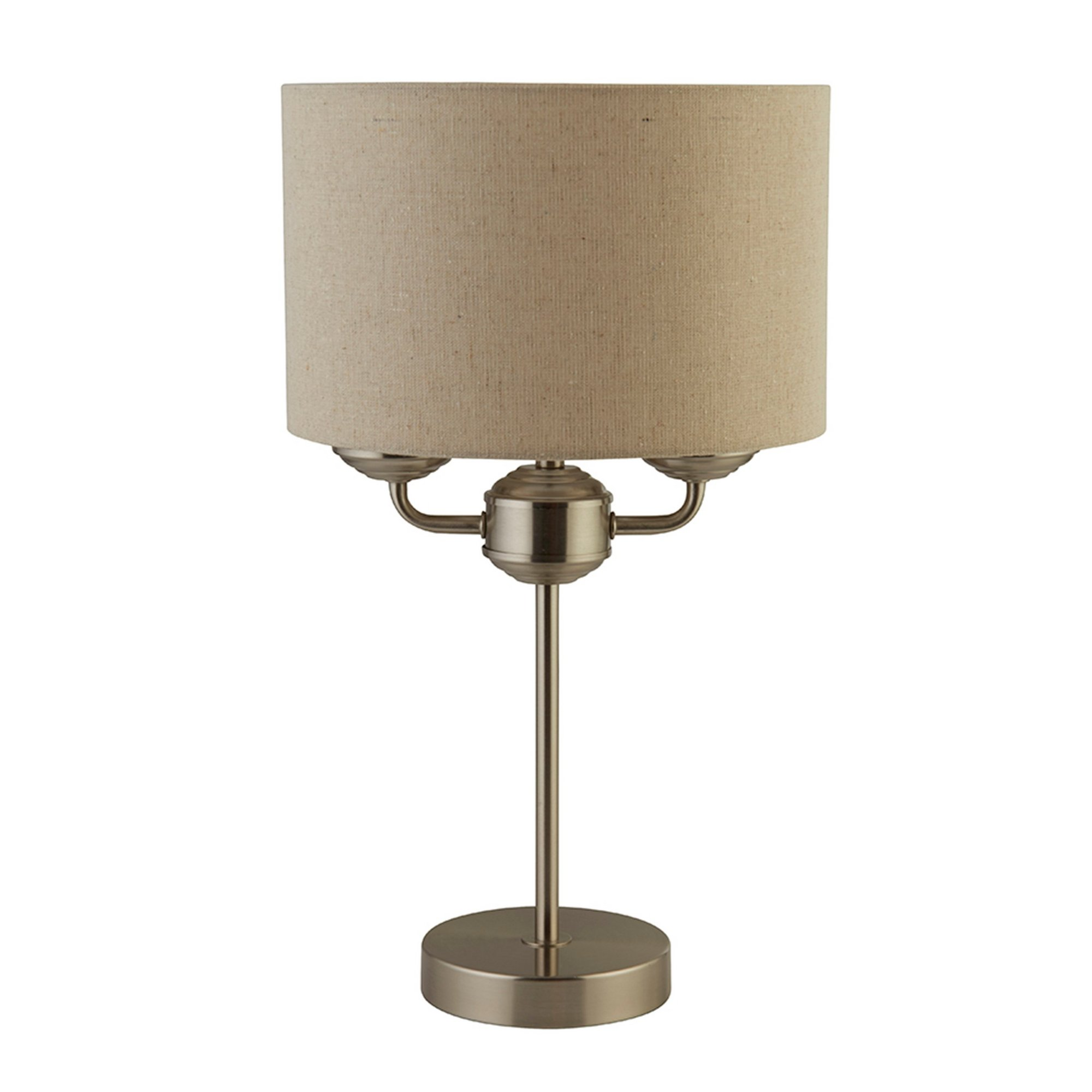 Image of 2 Light Table Lamp with Linen Shade
