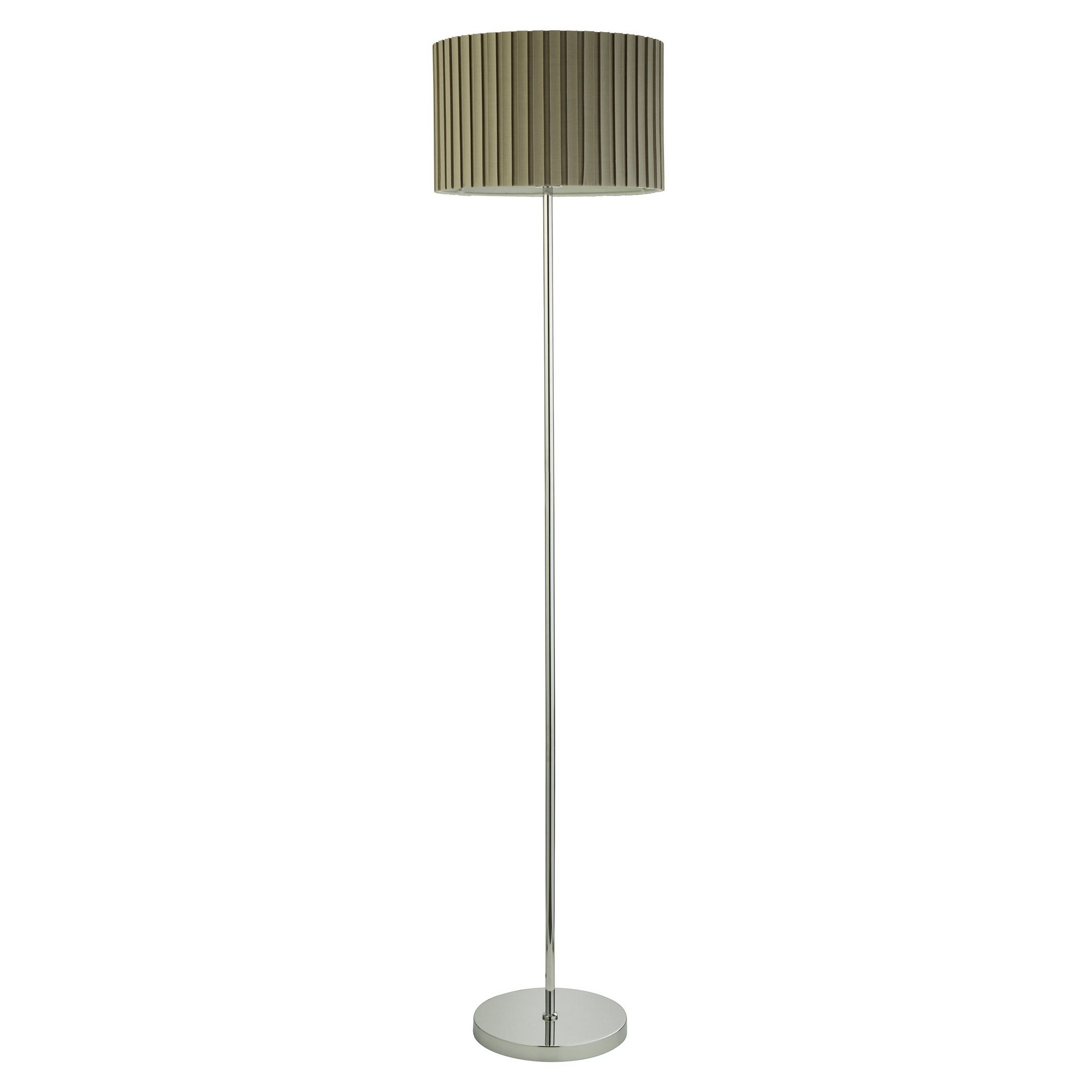 Image of Chrome Floor Lamp with Pleated Shade