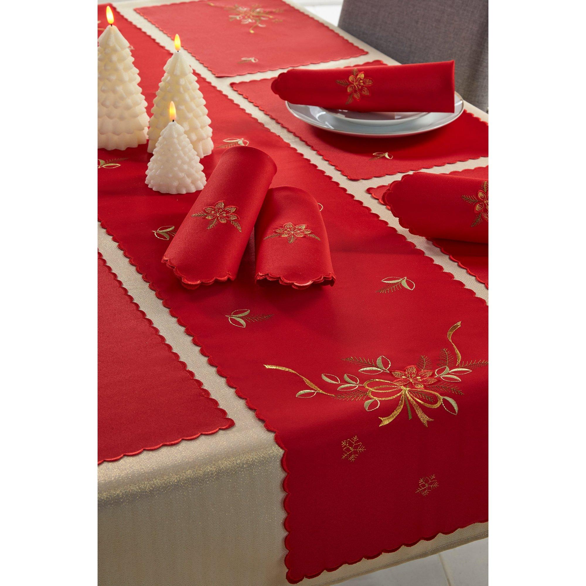 Image of 14-Piece Festive Poinsettia Christmas Table Set