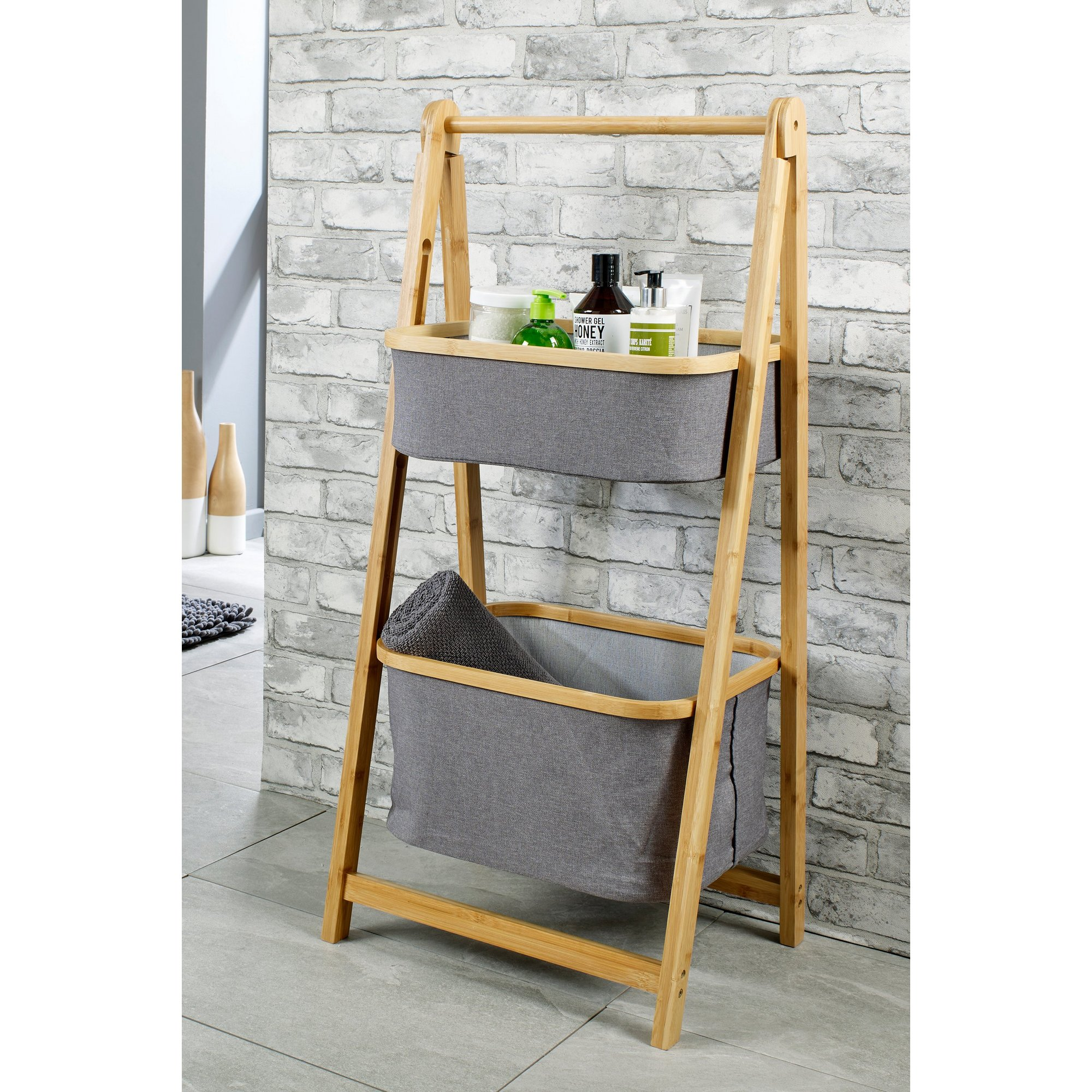 Image of Bamboo 2 Tier Ladder Shelving