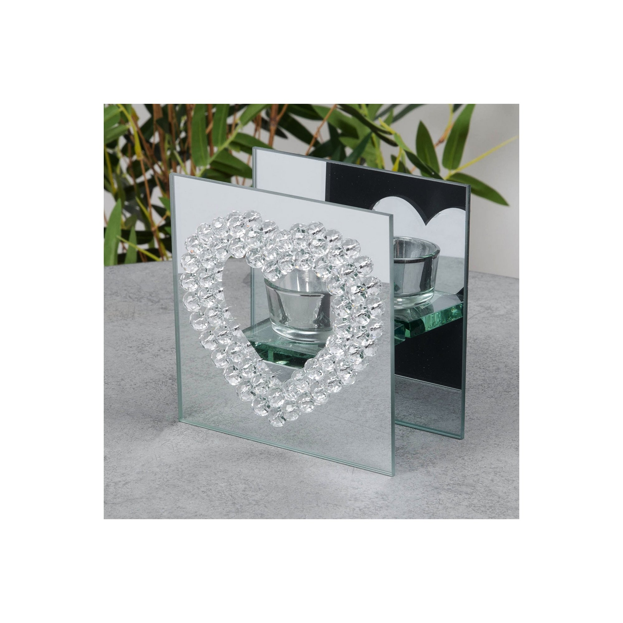 Image of Mirror Glass Crystal Heart Single Tealight Holder
