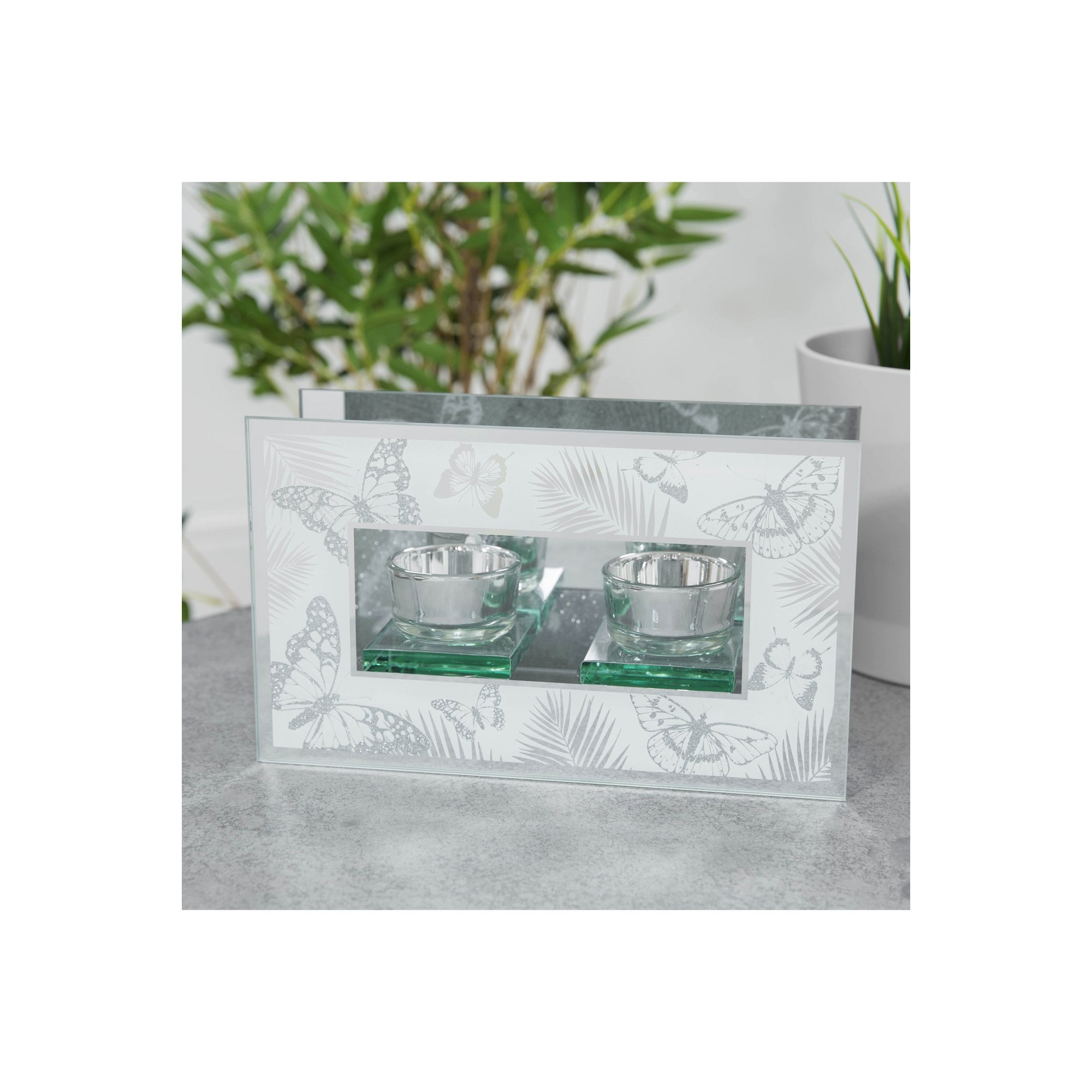 Image of Glass Butterfly Double Tealight Holder