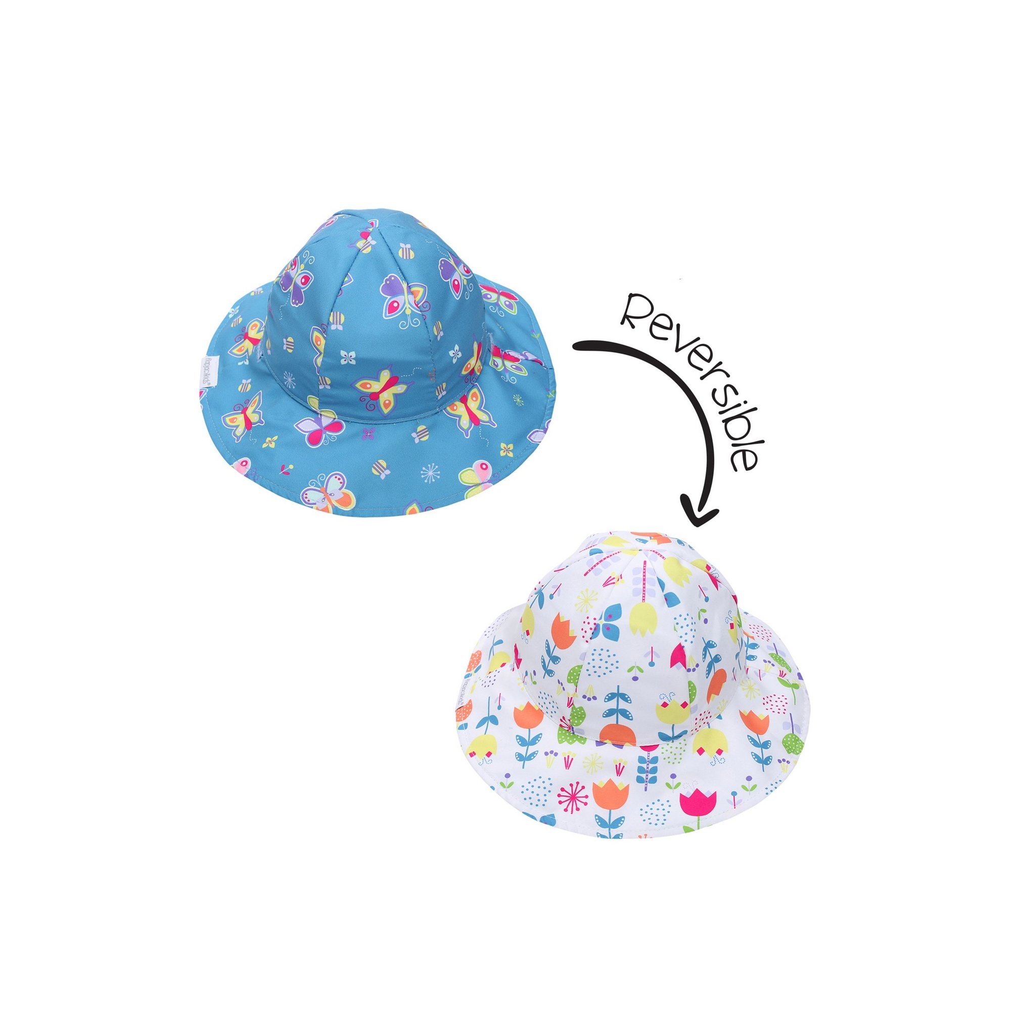 Image of FlapJackKids Patterned Girls Sunhat - Butterfly/Floral