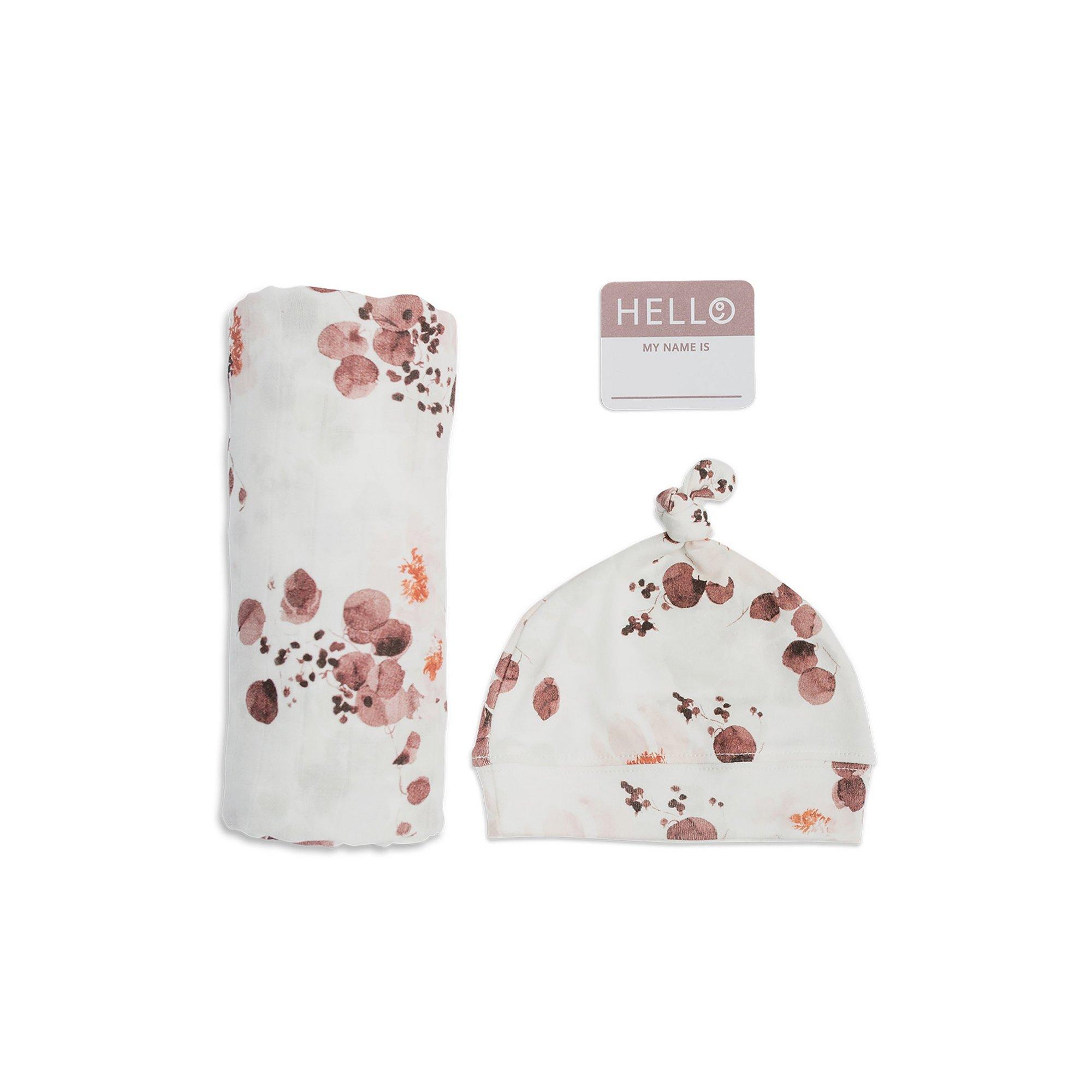 Image of Lulujo Newborn Hat and Swaddle Set - Eucalyptus