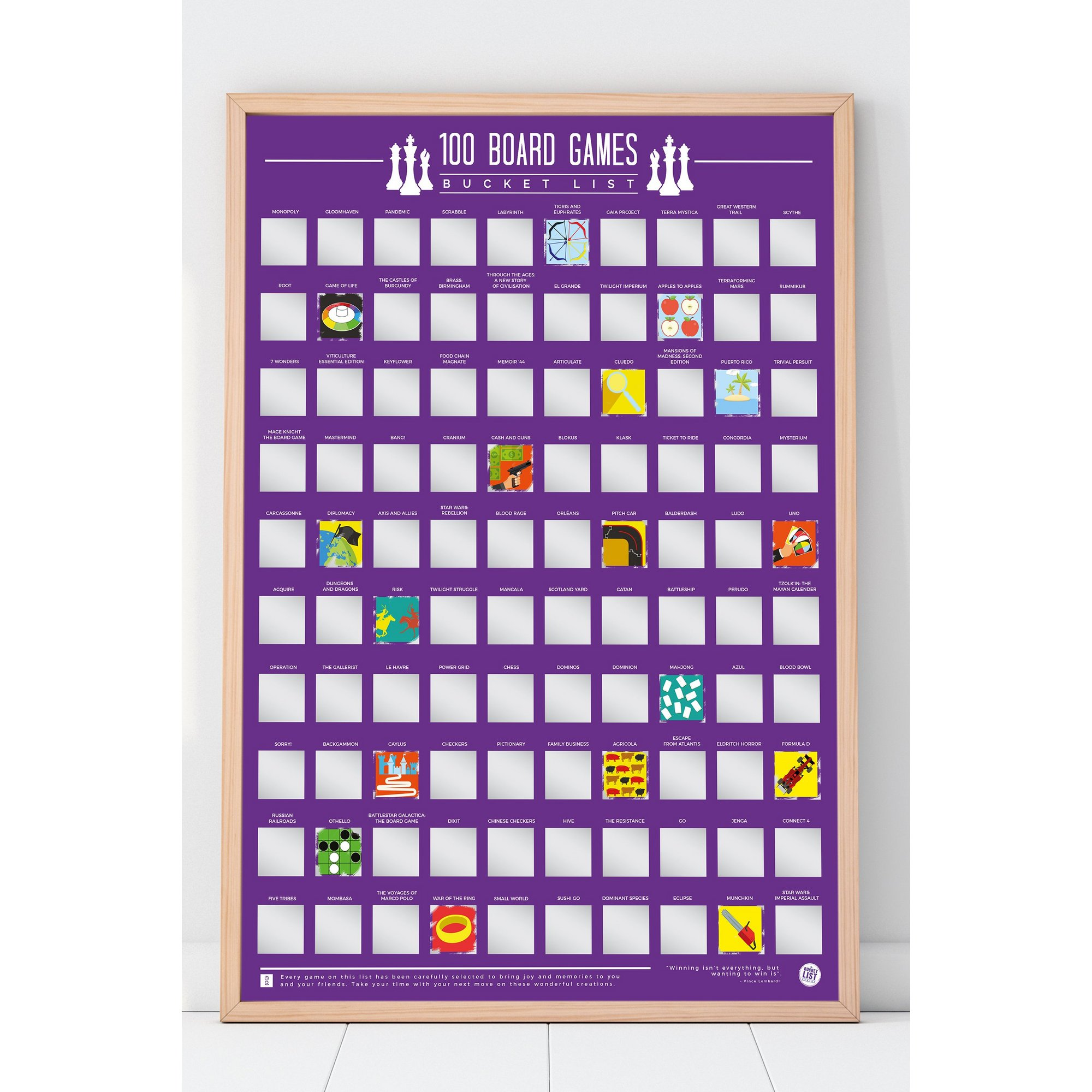 Image of 100 Board Games Bucket List Scratch off Poster