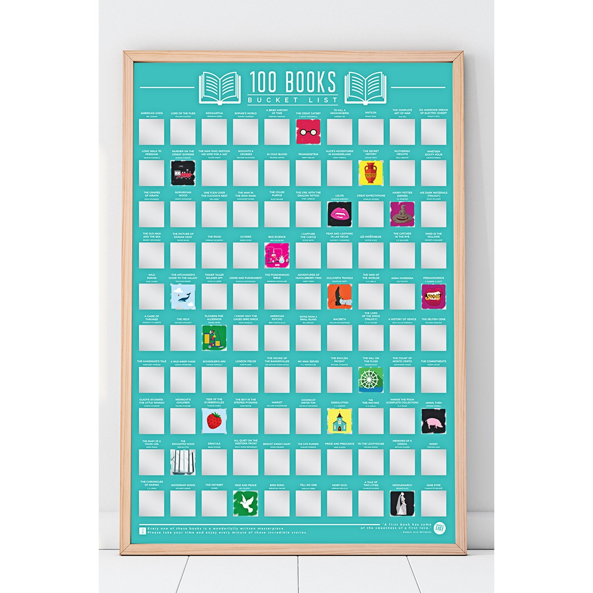 Image of 100 Books Bucket List Scratch off Poster