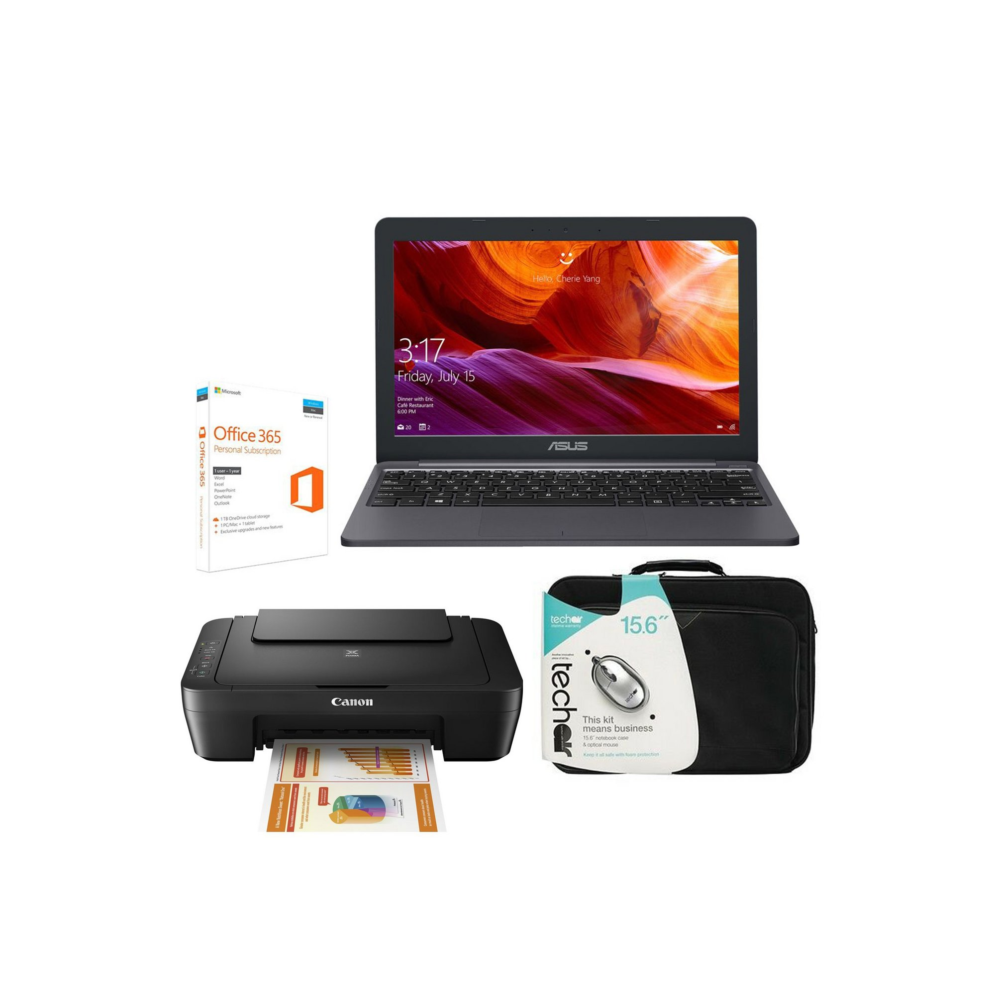 Image of ASUS 11.6 Inch Intel Celeron 64GB Laptop Office 365 Printer Bundle