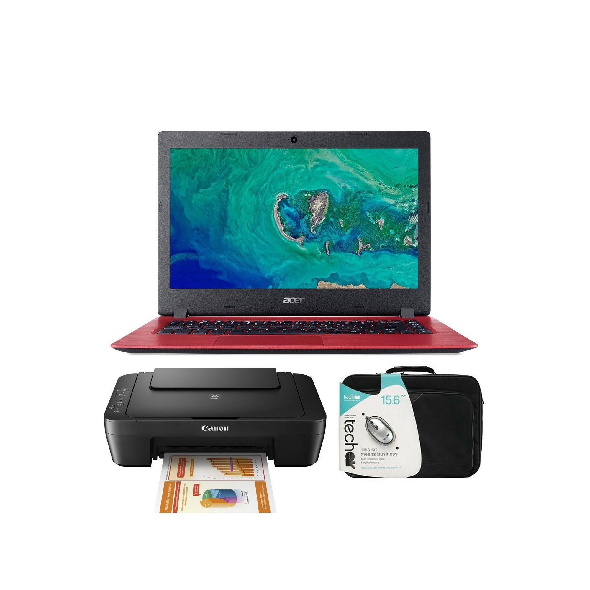 Image of Acer Aspire 1 14 Inch Windows 10 Home 4GB 64GB Laptop Printer Bundle