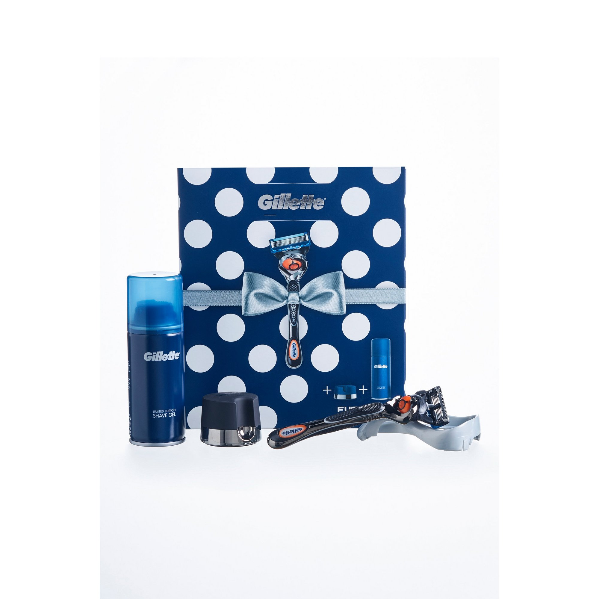 Image of Gillette Gift Set Fusion Razor for Men + Shaving Gel 75ml + Stand