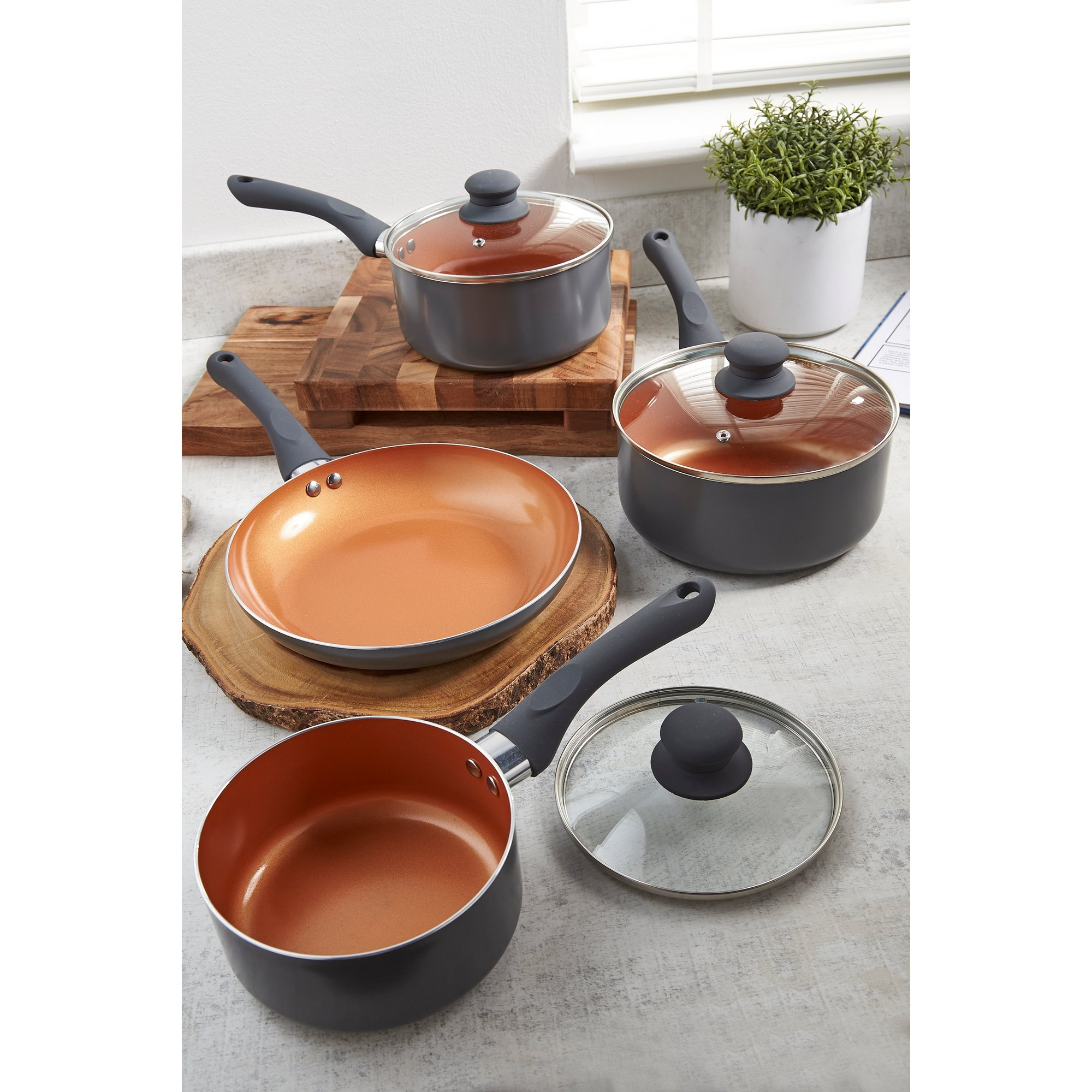 Image of 4-Piece Two Tone Copper and Grey Pan Set