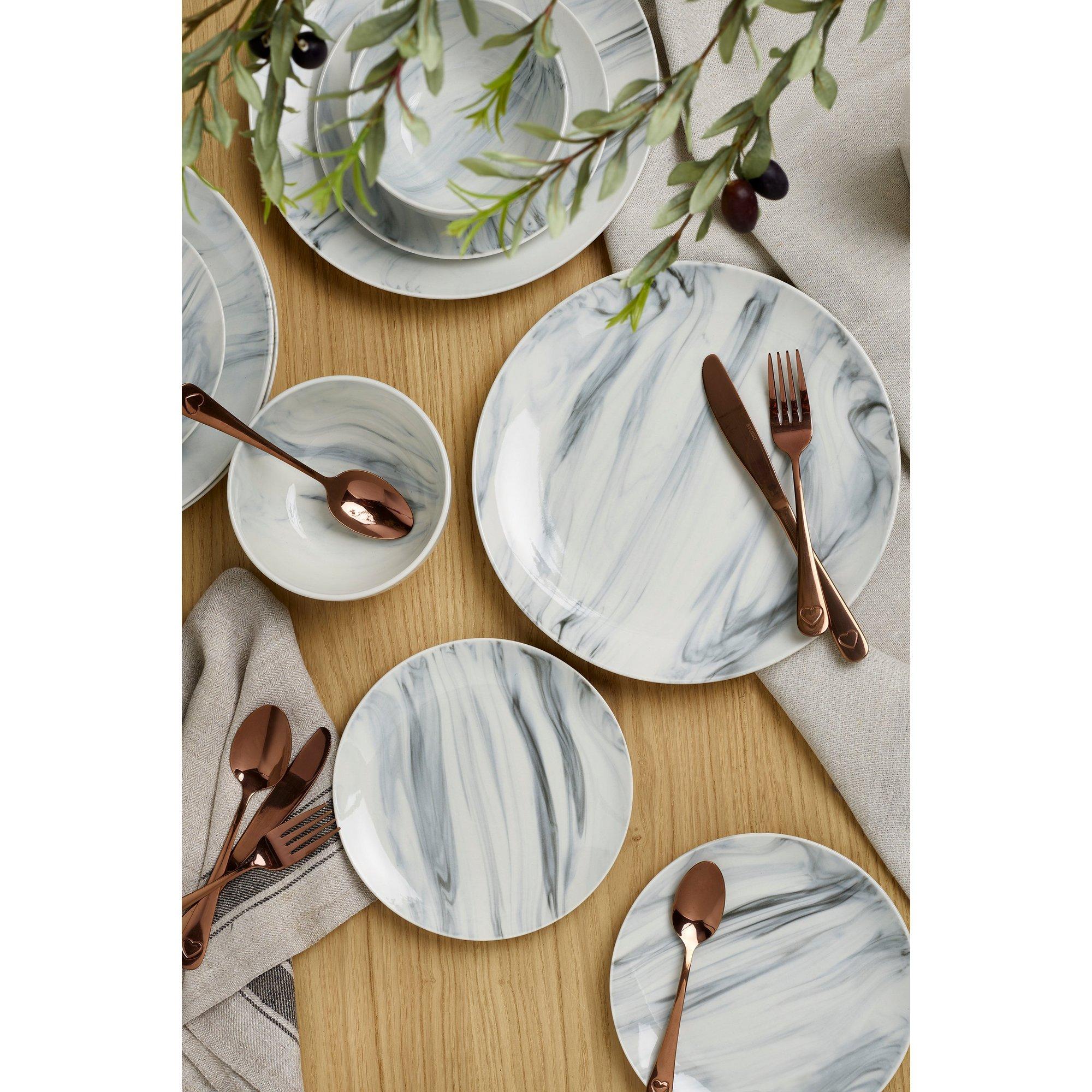 Image of 12-Piece Marble Glazed Dinner Set