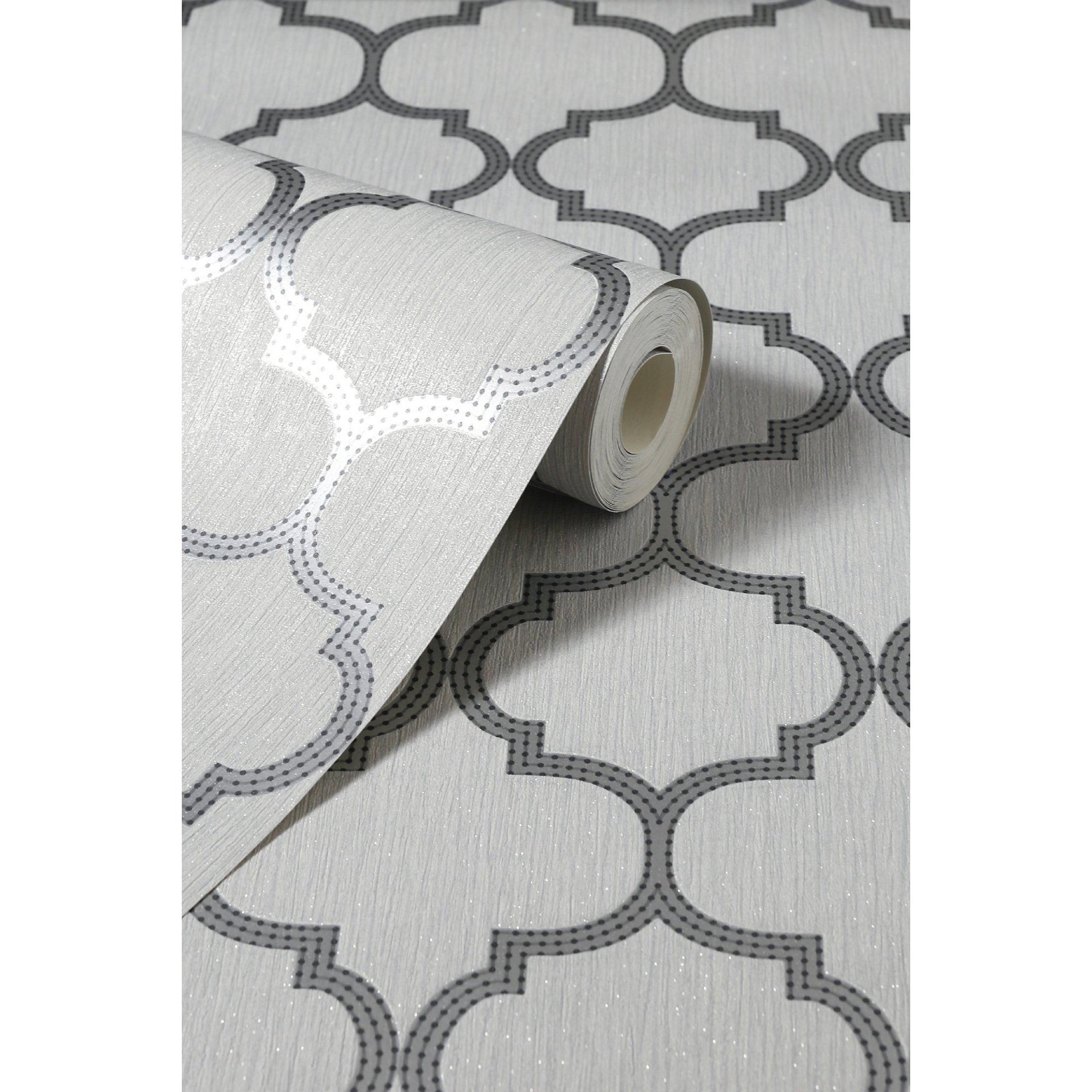 Image of Beaded Trellis Grey Wallpaper
