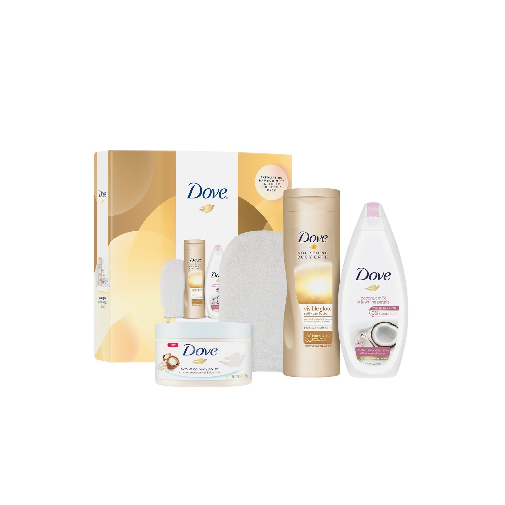 Image of Dove Prep and Glow Gradual Tan Collection Gift Set with Body Mitt