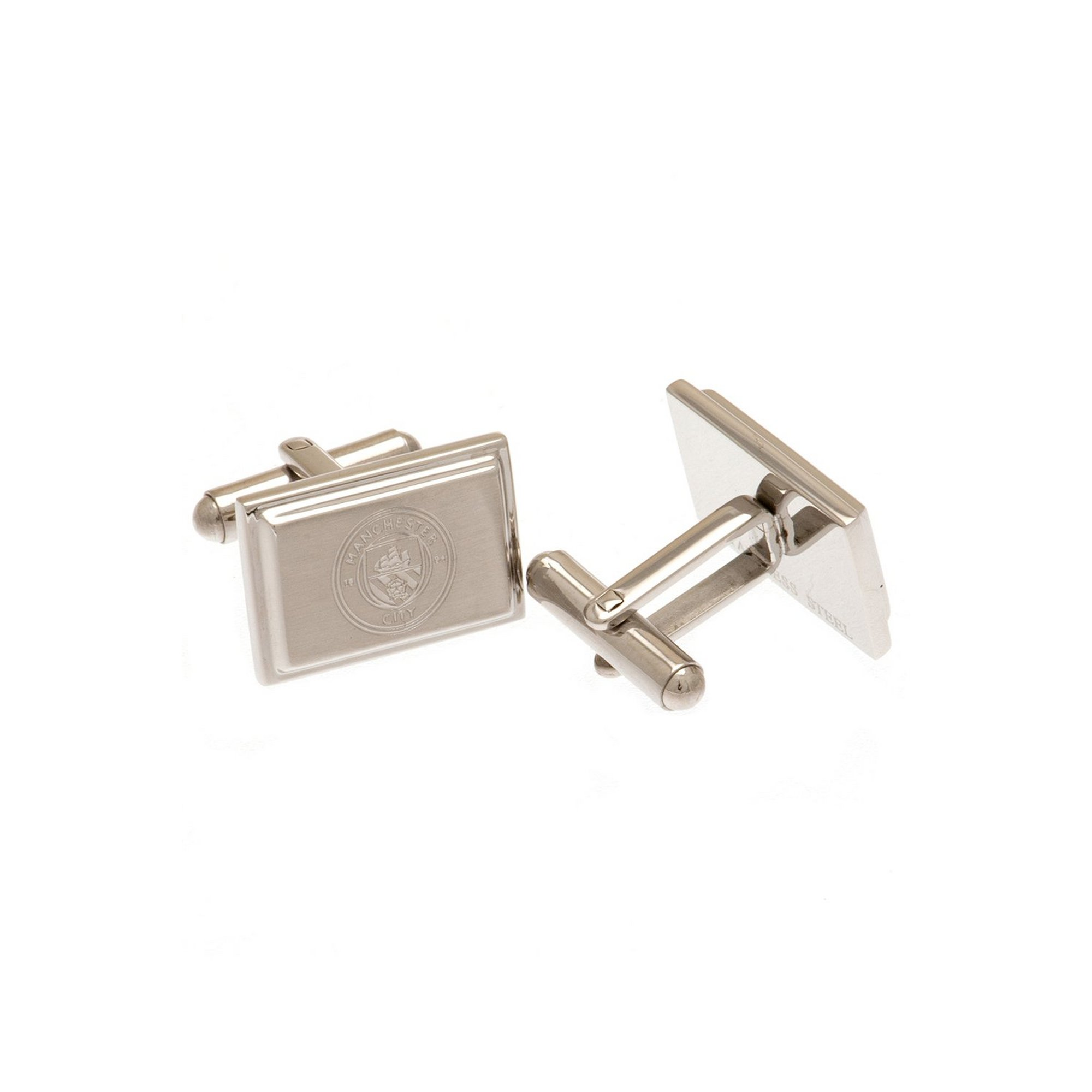 Image of Manchester City Stainless Steel Crest Cufflinks