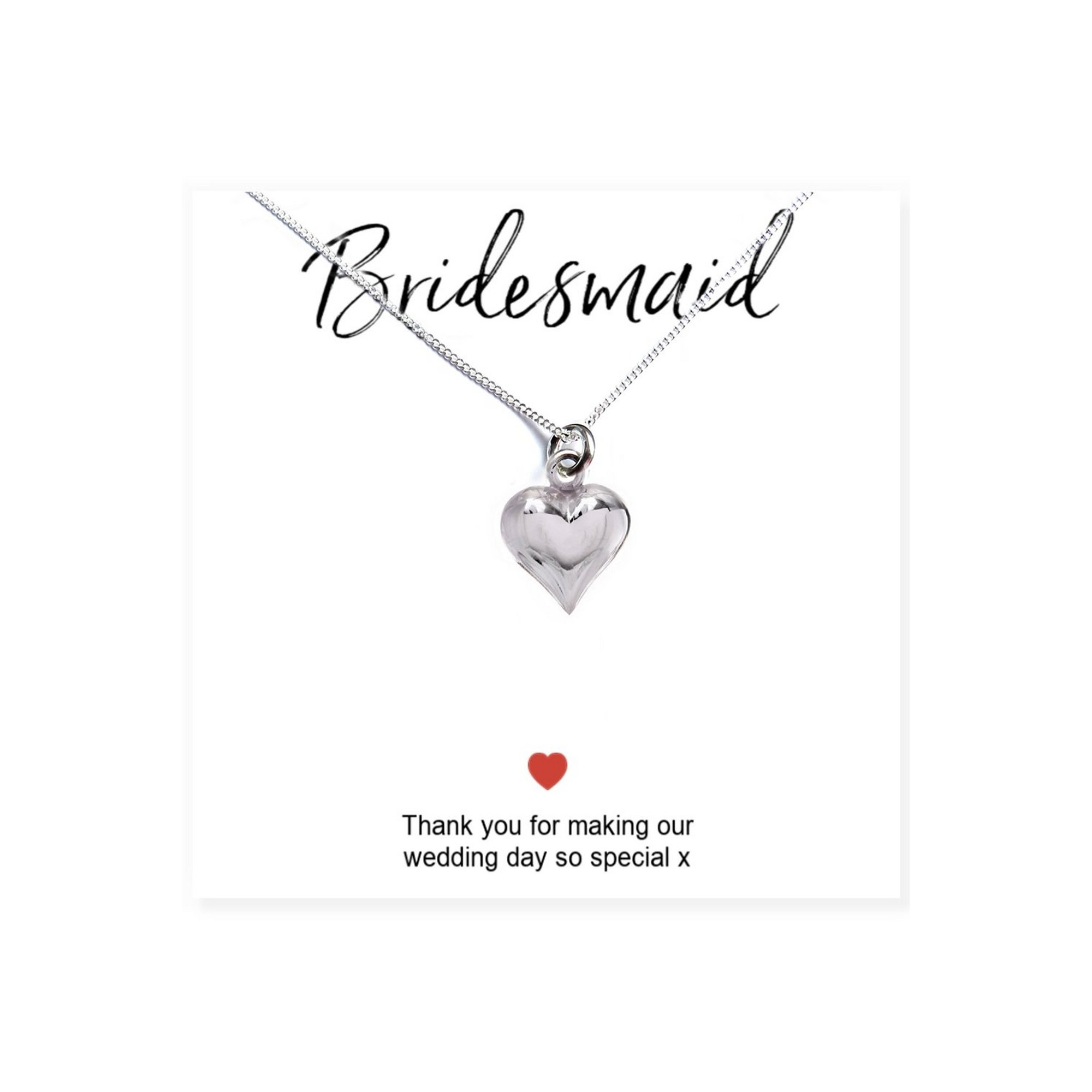 Image of Bridesmaids Heart Necklace and Thank You Card