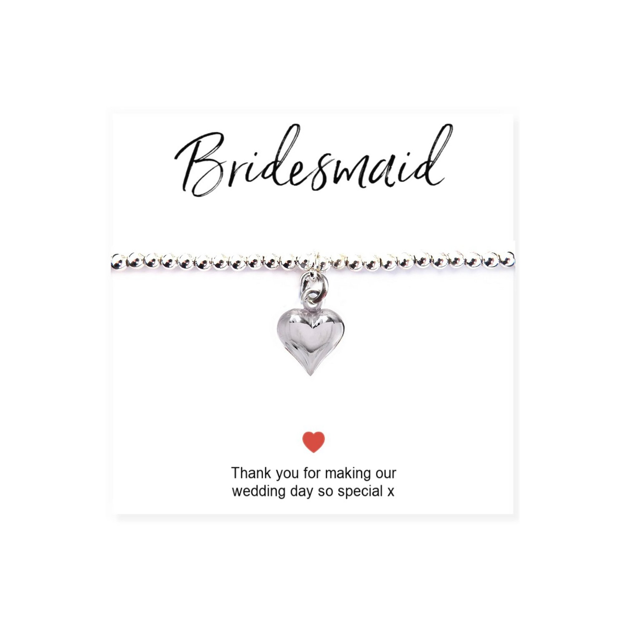 Image of Bridesmaids Heart Bracelet and Thank You Card