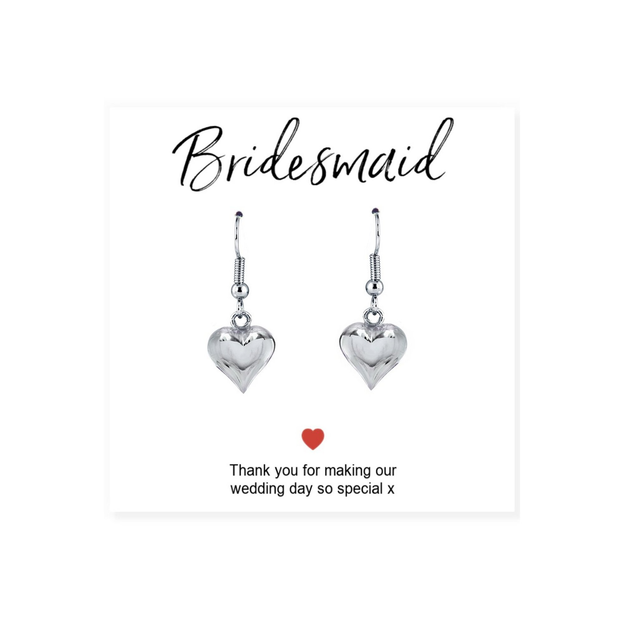 Image of Bridesmaids Heart Earrings and Thank You Card
