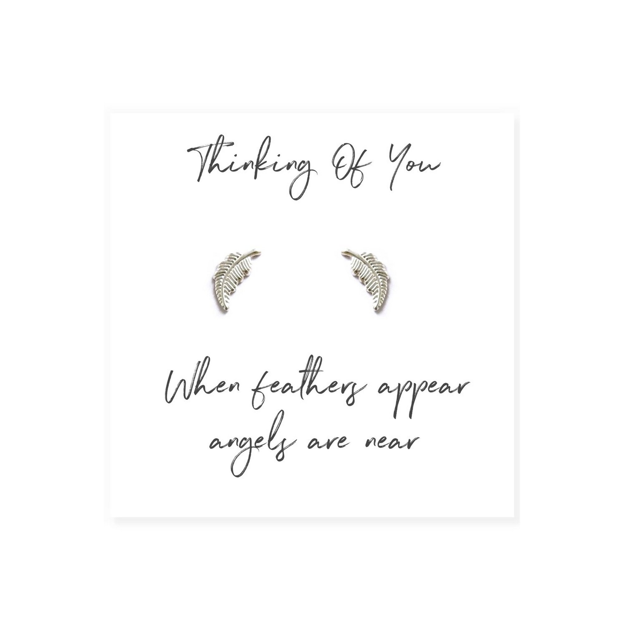 Image of Angel Feather Sterling Silver Earrings on Message Card