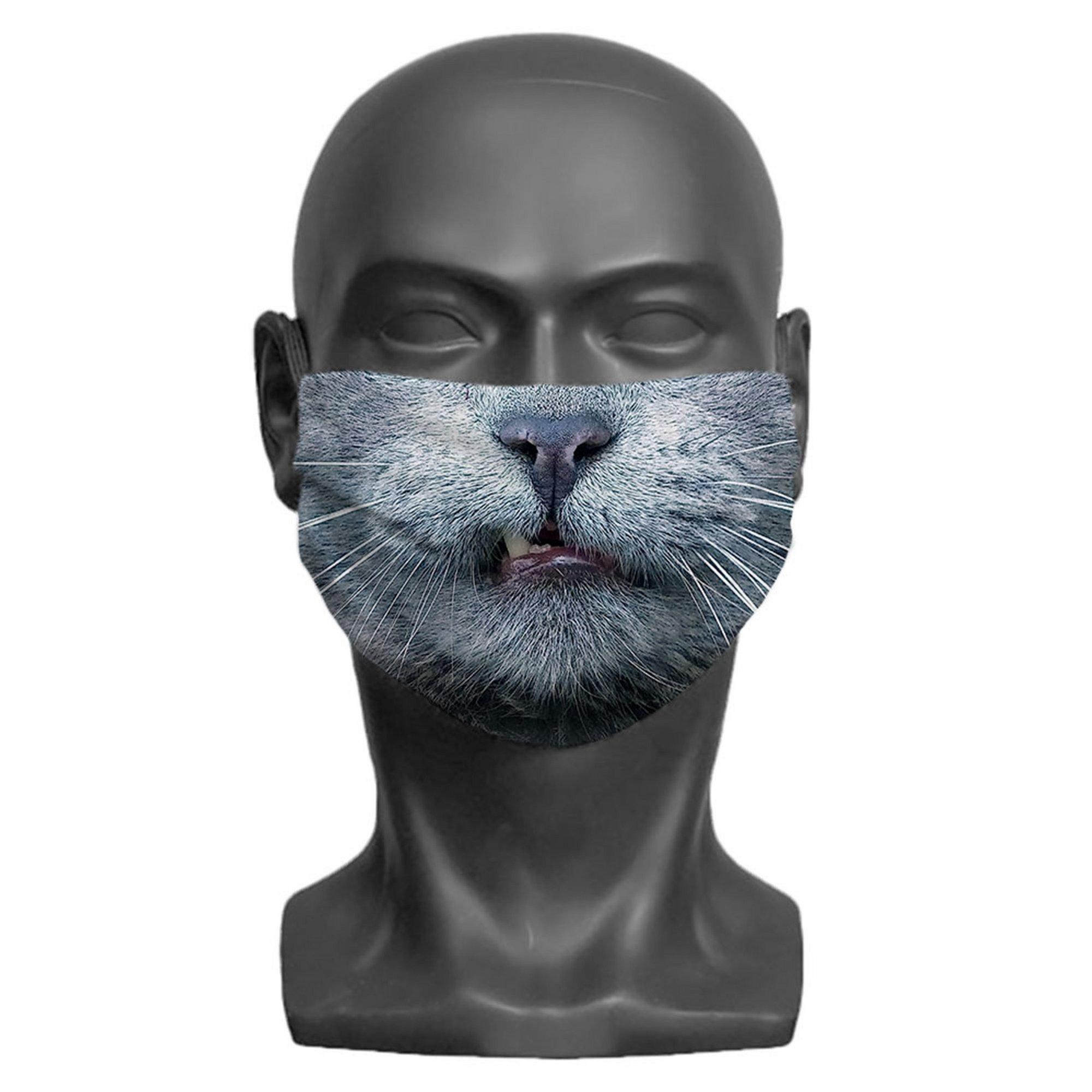 Image of Kids Cat Print Face Mask