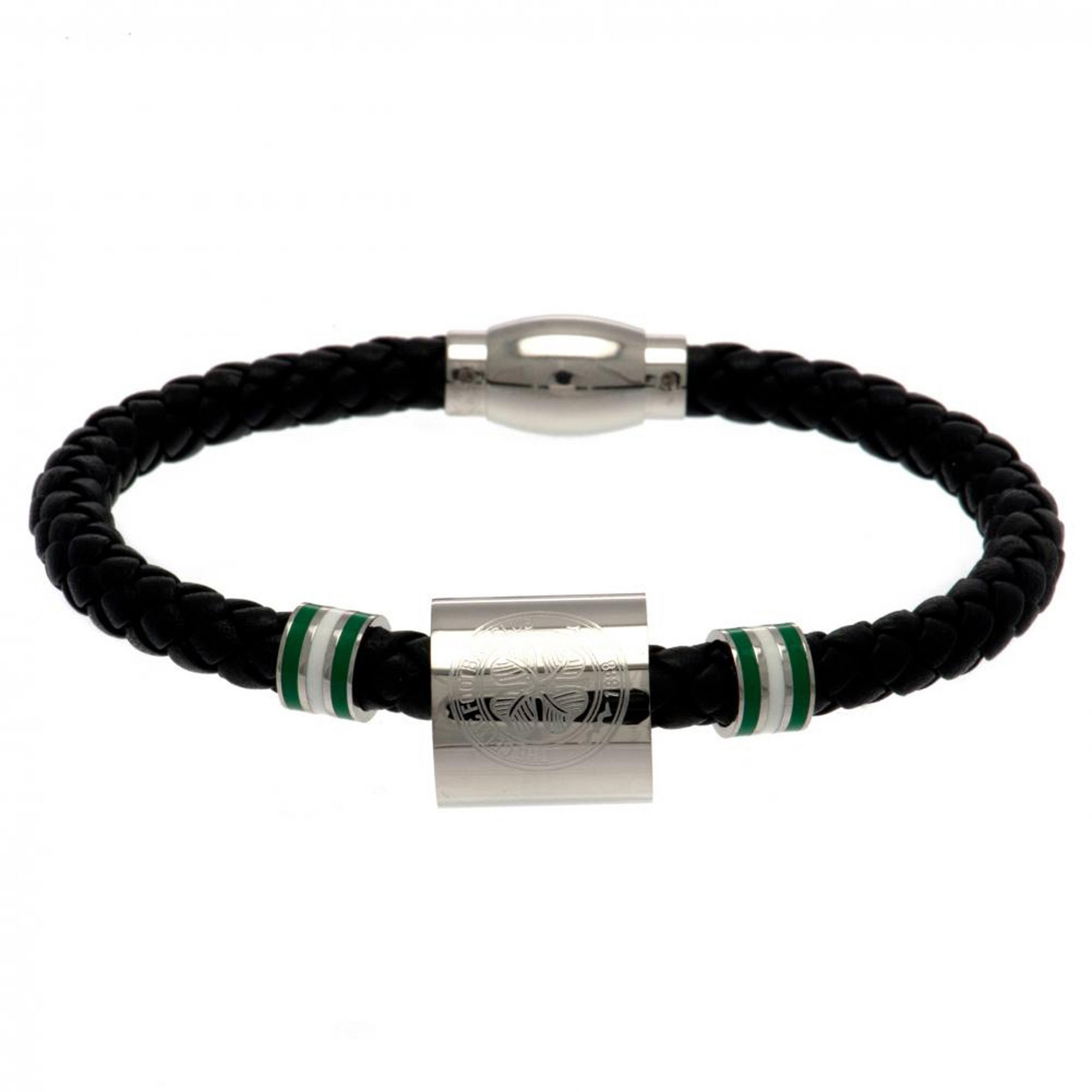 Image of Celtic FC Stainless Steel and Leather Crest Bracelet