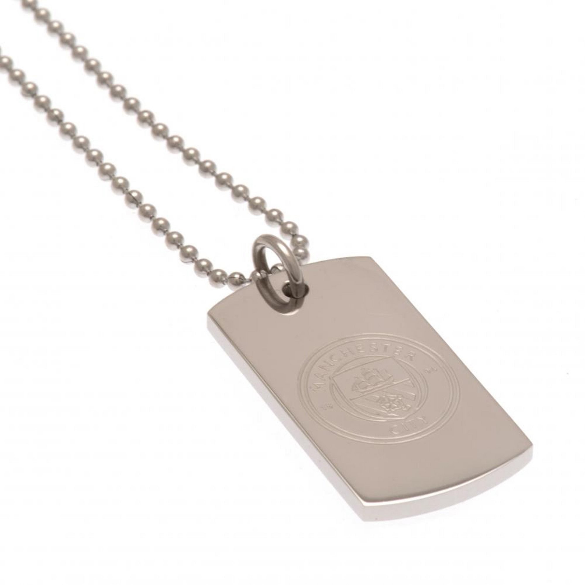 Image of Manchester City FC Stainless Steel Dog Tag and Ball Chain
