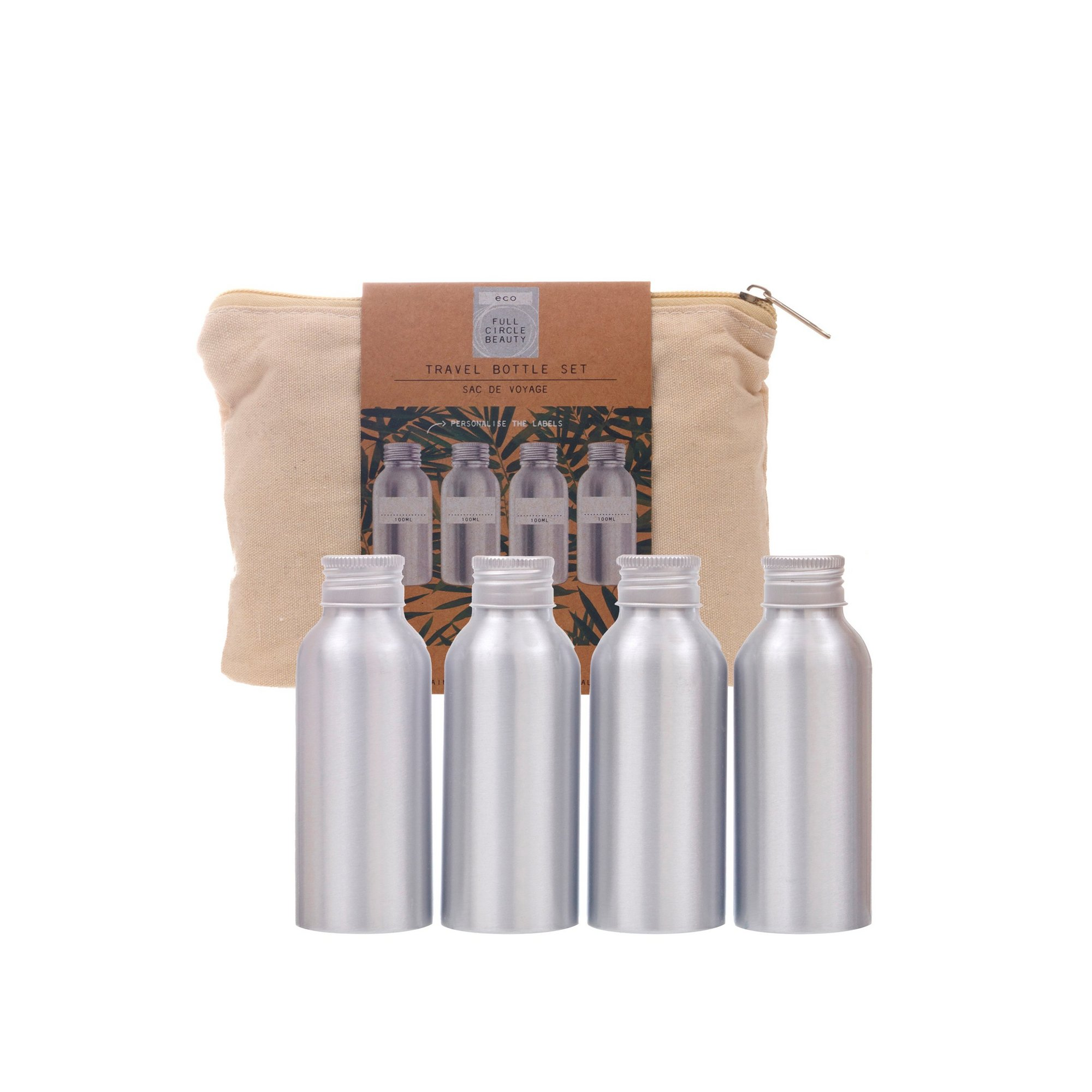 Image of Clean and Green Aluminium Travel Bottles in Canvas Bag