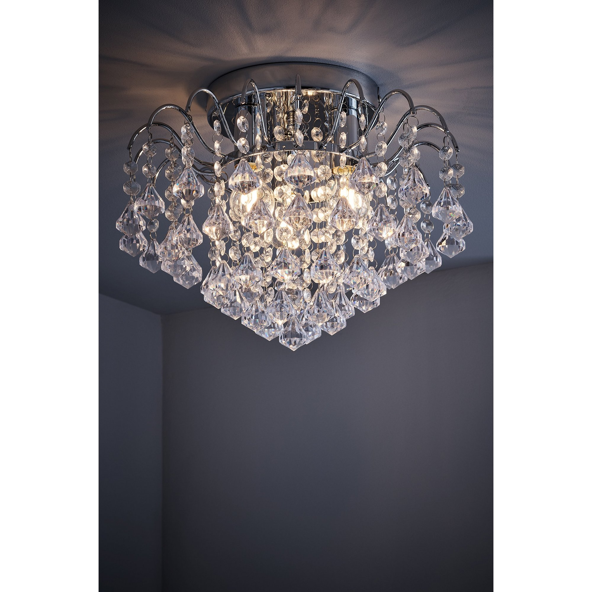 Image of 3 Light Acrylic Beaded Droplet Ceiling Light