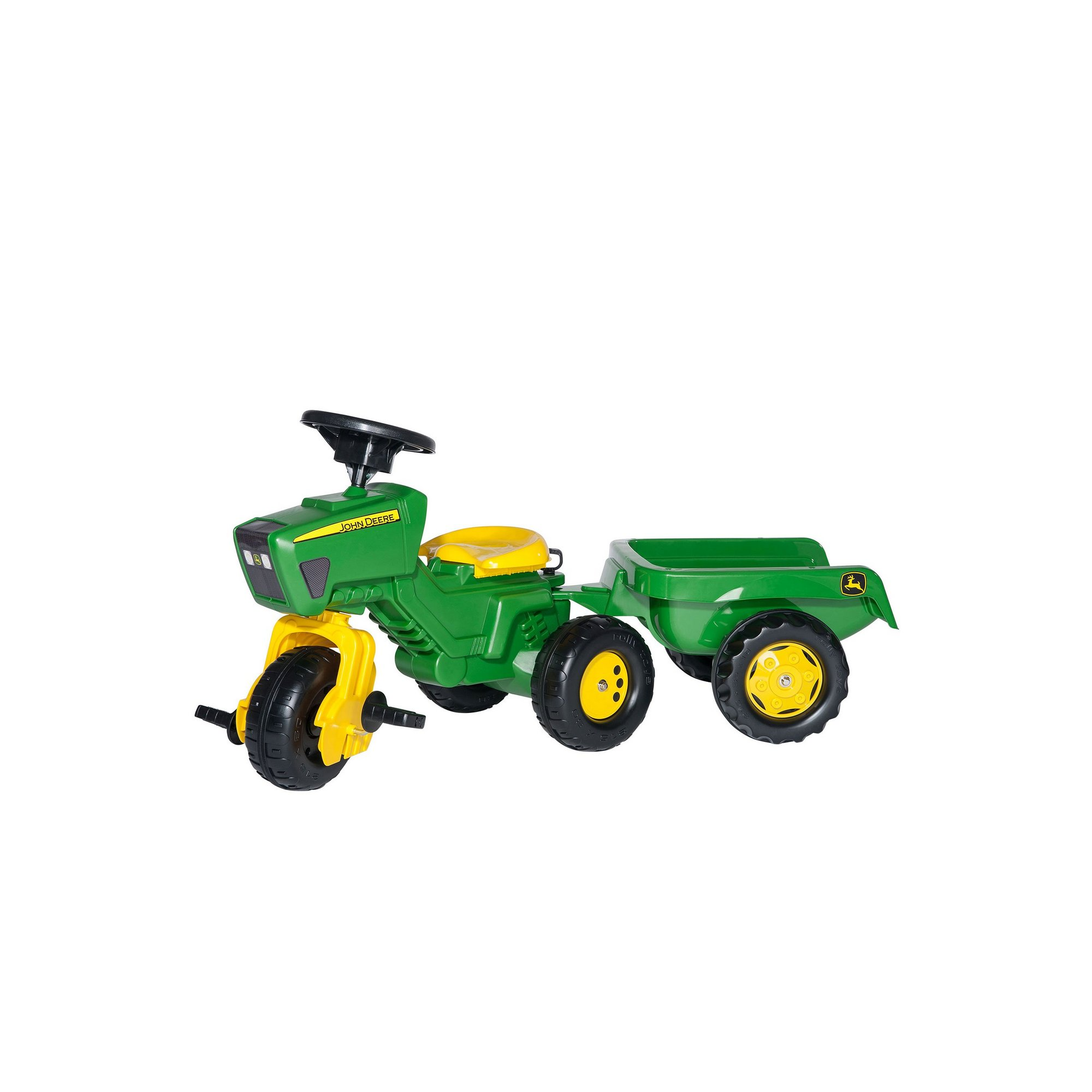 Image of John Deere Trio Tractor with Electronic Steering Wheel and Trailer