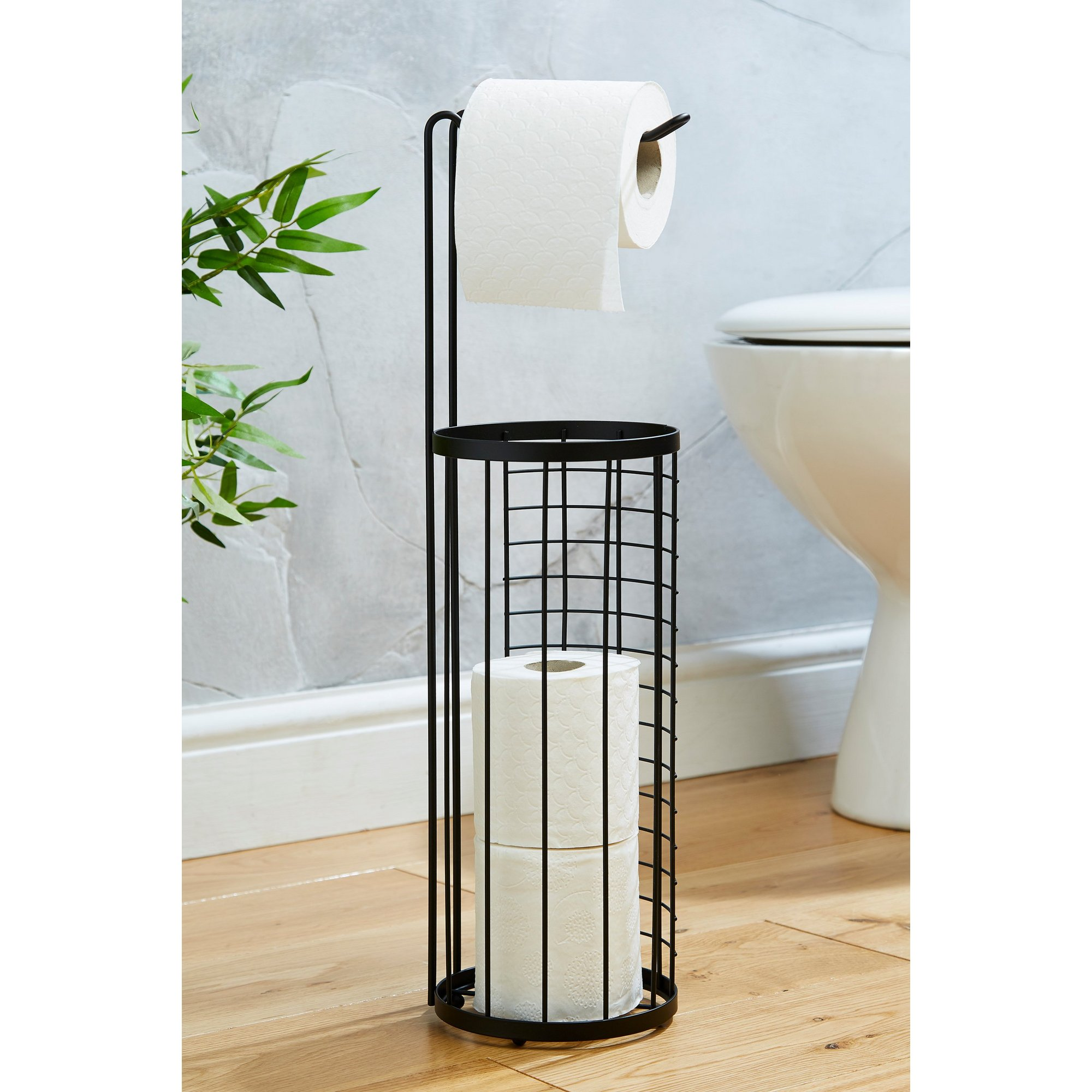 Image of Black Wire Toilet Roll Holder