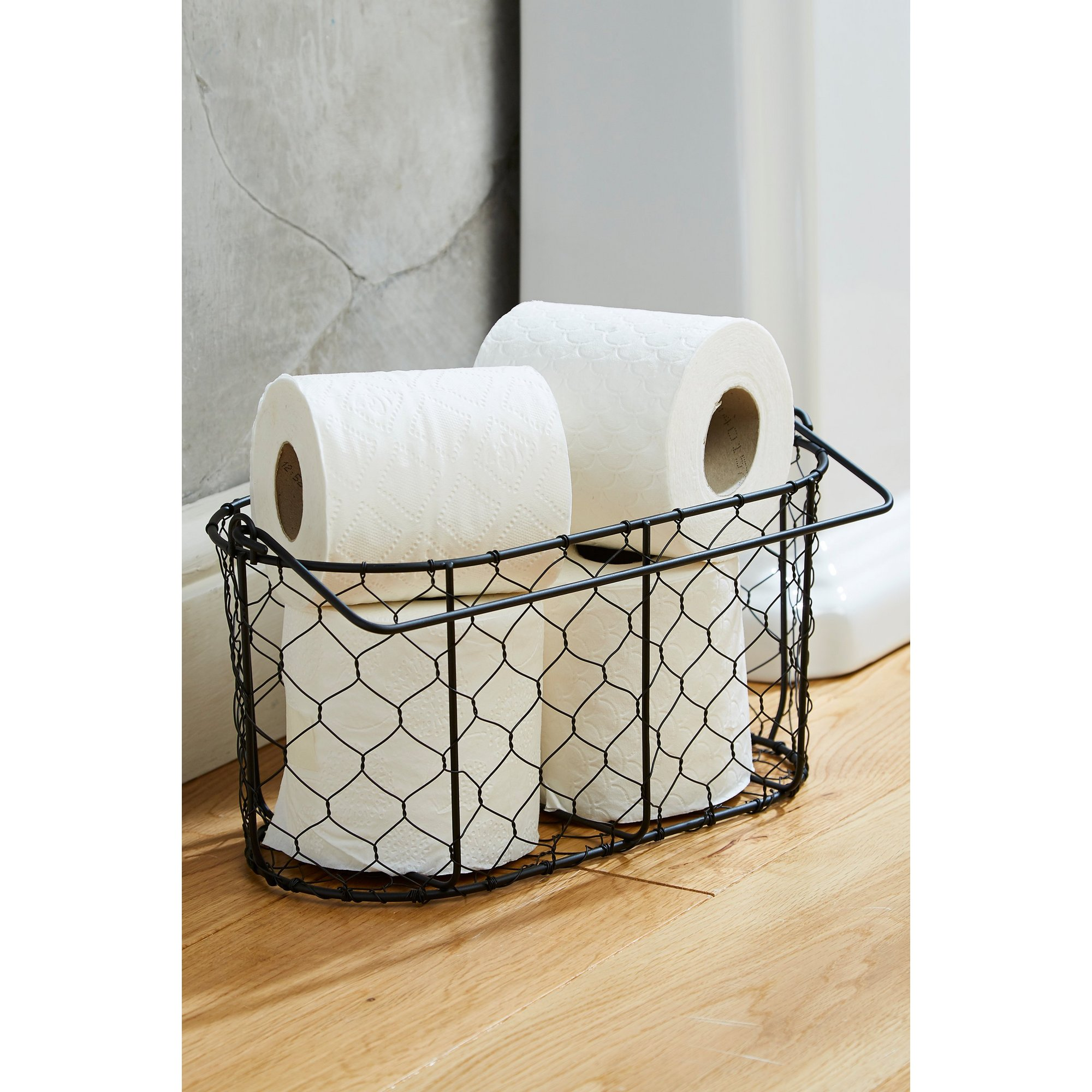 Image of Black Wire Toilet Roll Basket