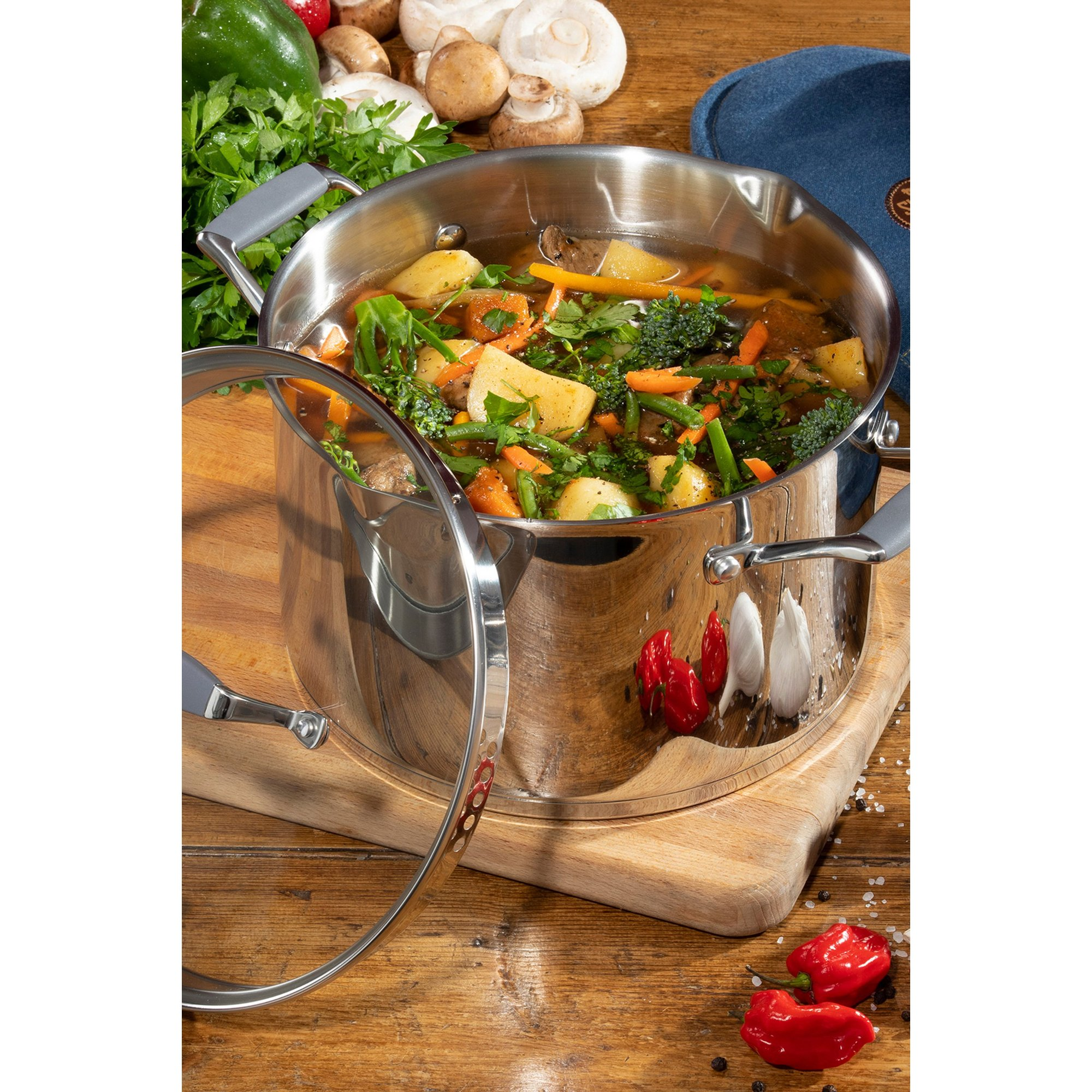 Image of Hairy Bikers 24cm Stainless Steel Professional Casserole Pan