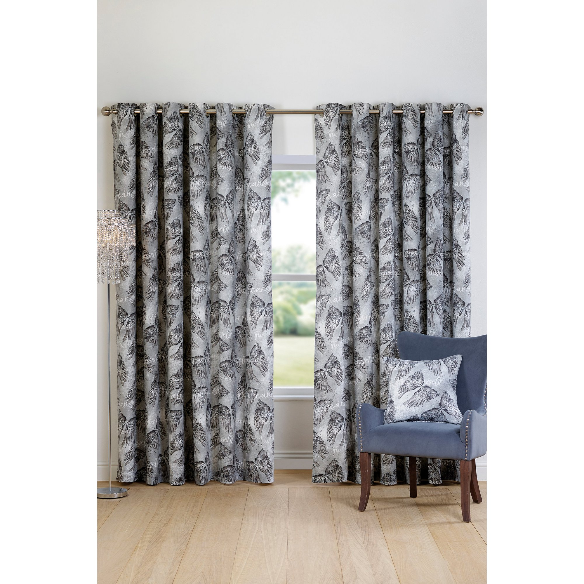 Image of Angel Eyelet Lined Curtains