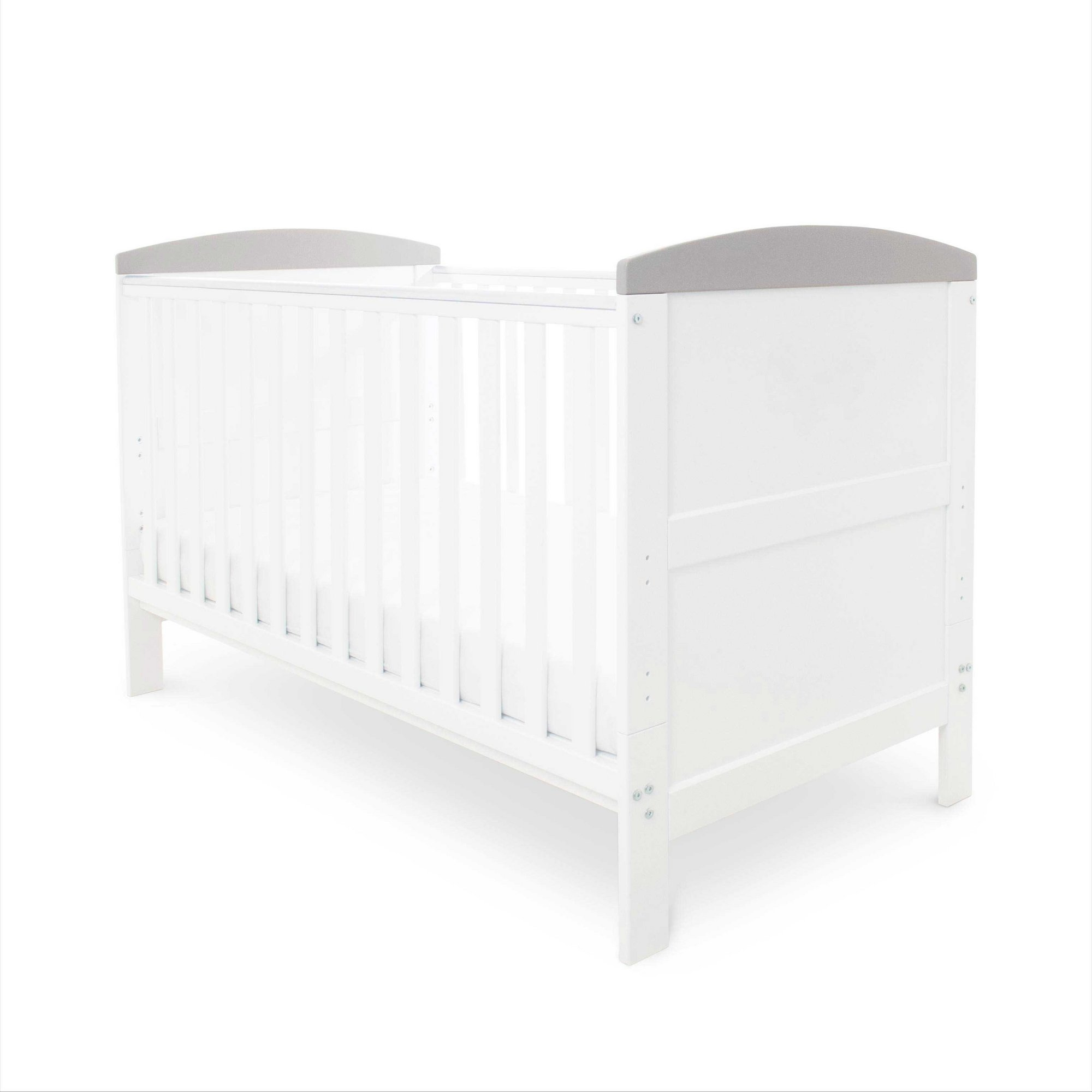 Image of Coleby Cot Bed Inc. Pocket Sprung Mattress - White with Grey Trim