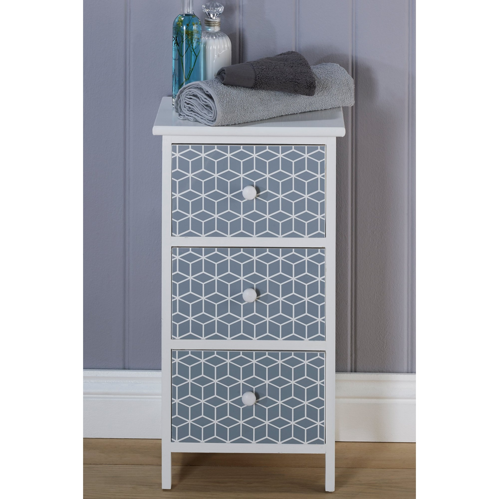 Image of 3 Drawer Geo Wooden Bathroom Unit