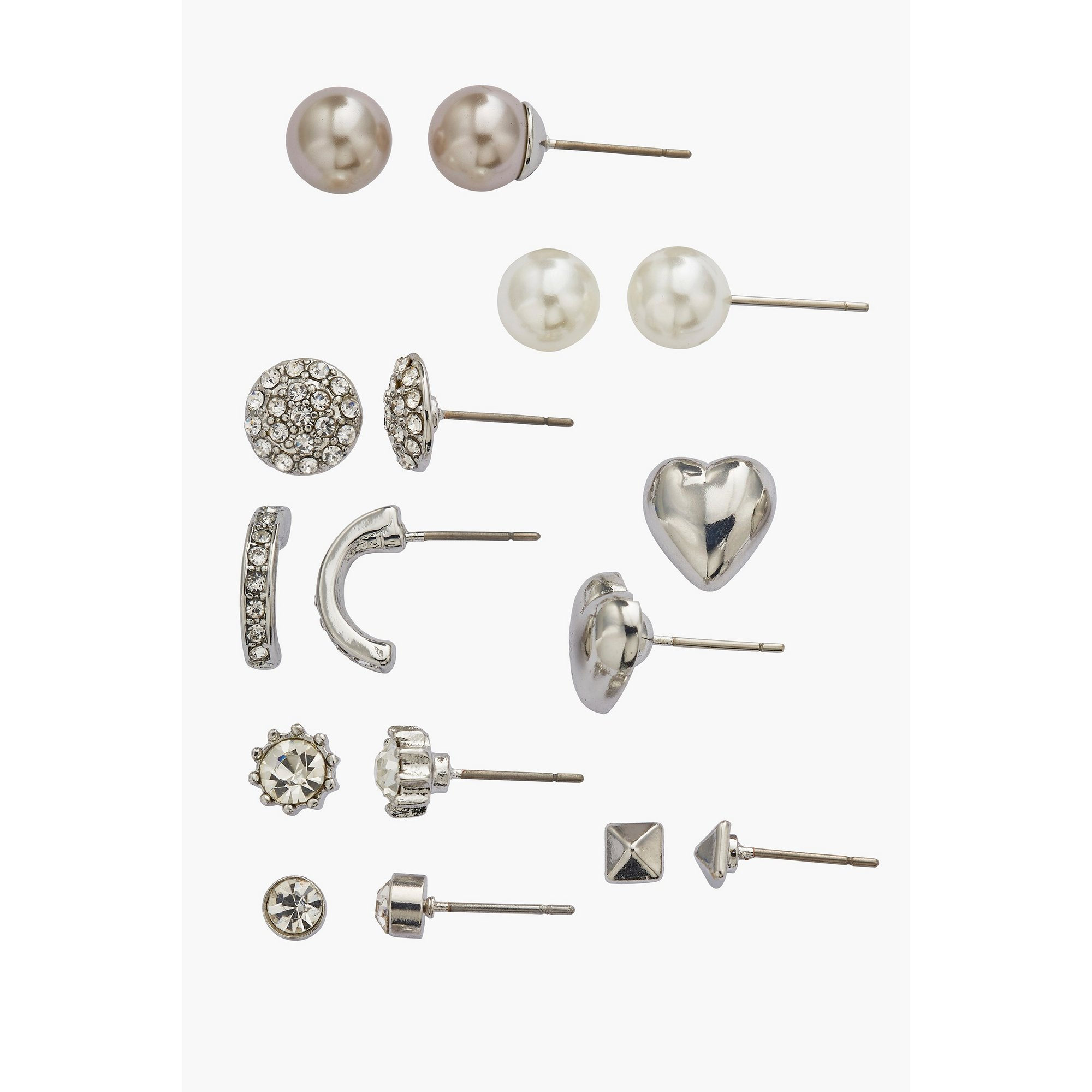 Image of Buckley London 8-Piece Rhodium Earring Set