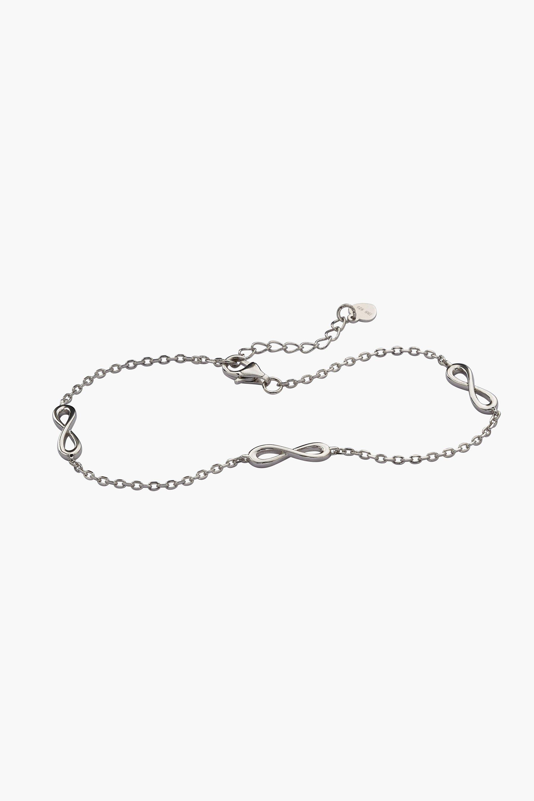 sterling silver rhodium plated three figure 8 7.5 +1 inch bracelet