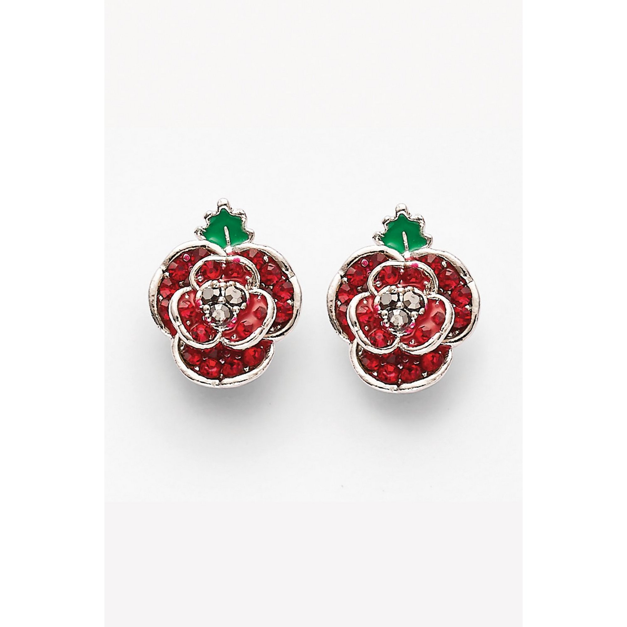 Image of Espree Crystal Poppy Earrings with Enamel Leaf