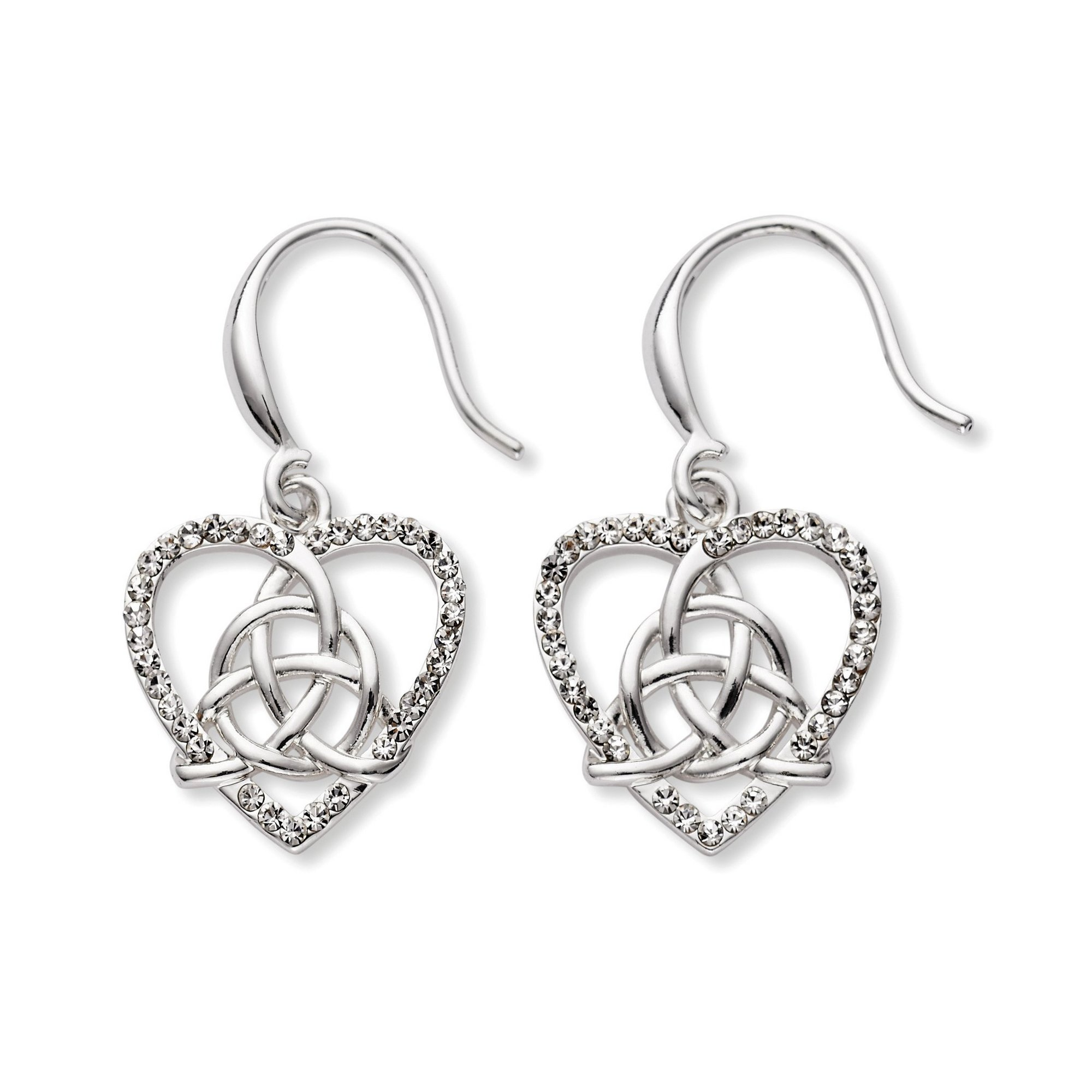 Image of Equilibrium Celtic Heart Knot Silver Plated Earrings