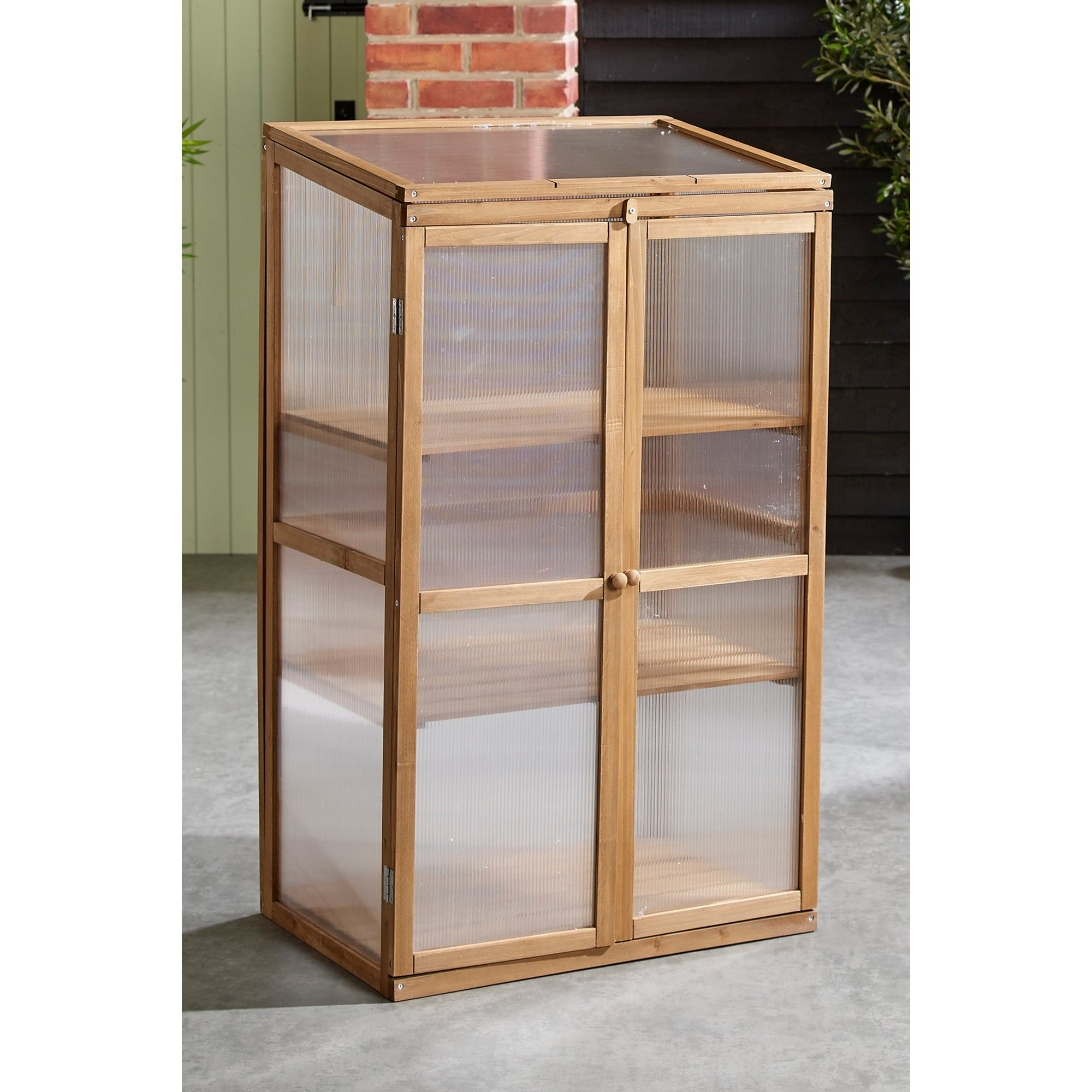 Image of Tall Cold Frame Wooden and Polycarbonate Greenhouse