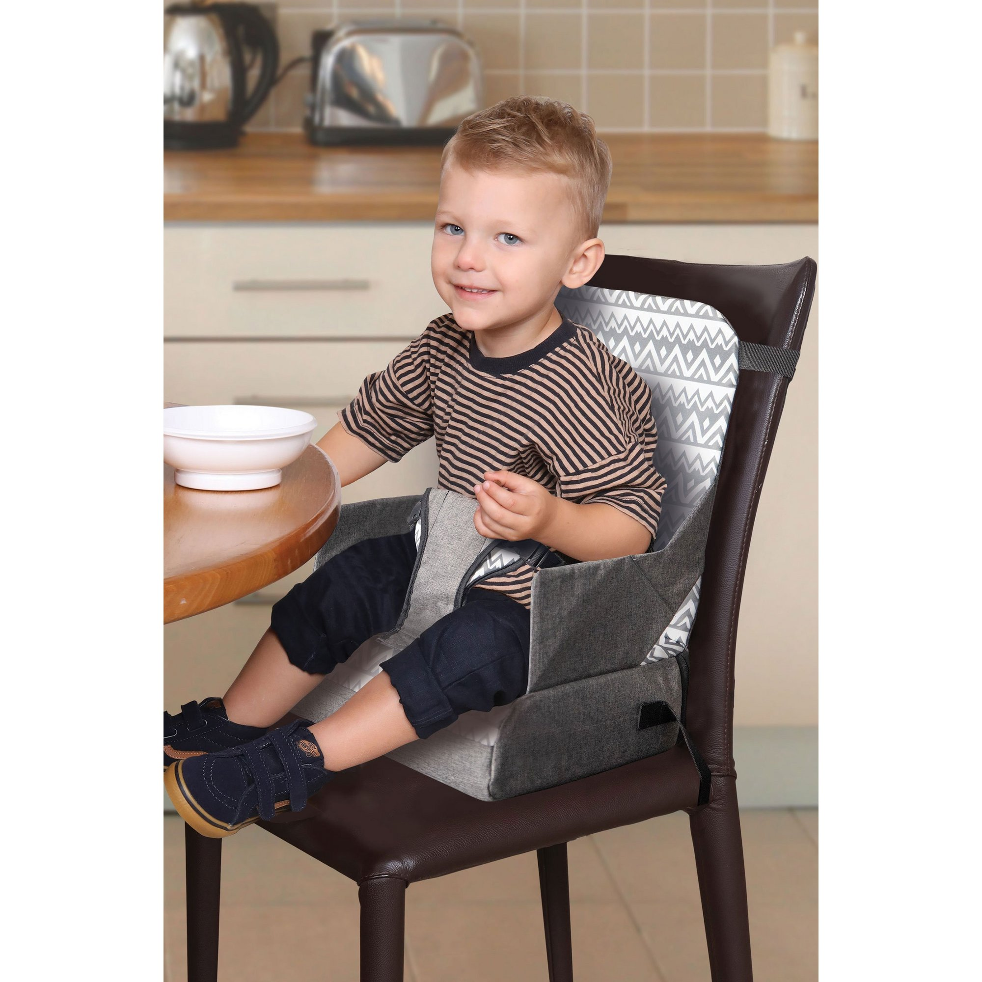 Image of Feeding and Grab N Go Booster Seat with Handy Storage