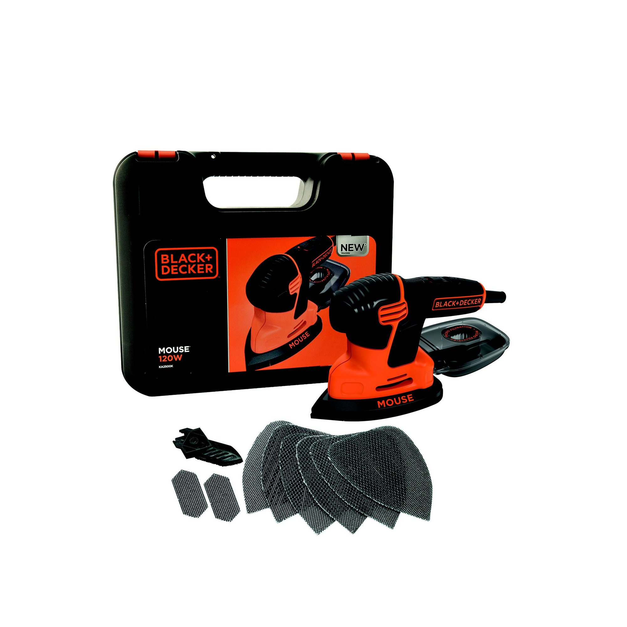 Image of Compact Premium Mouse Sander with 6 Mesh Sanding Sheets + Kit Box