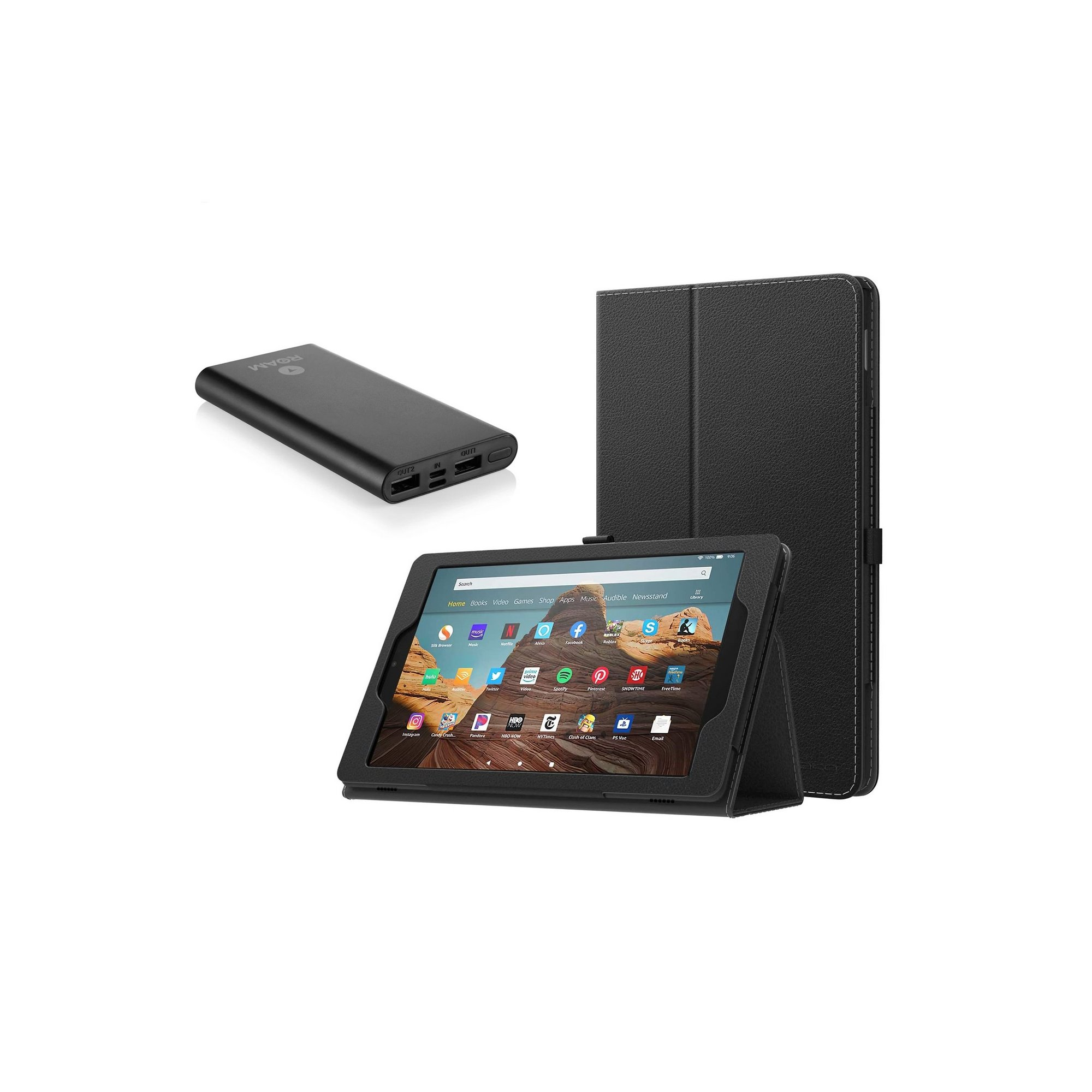 Image of Amazon Fire 10 HD 10.1in 32GB Tablet Black Travel Bundle with Cas...