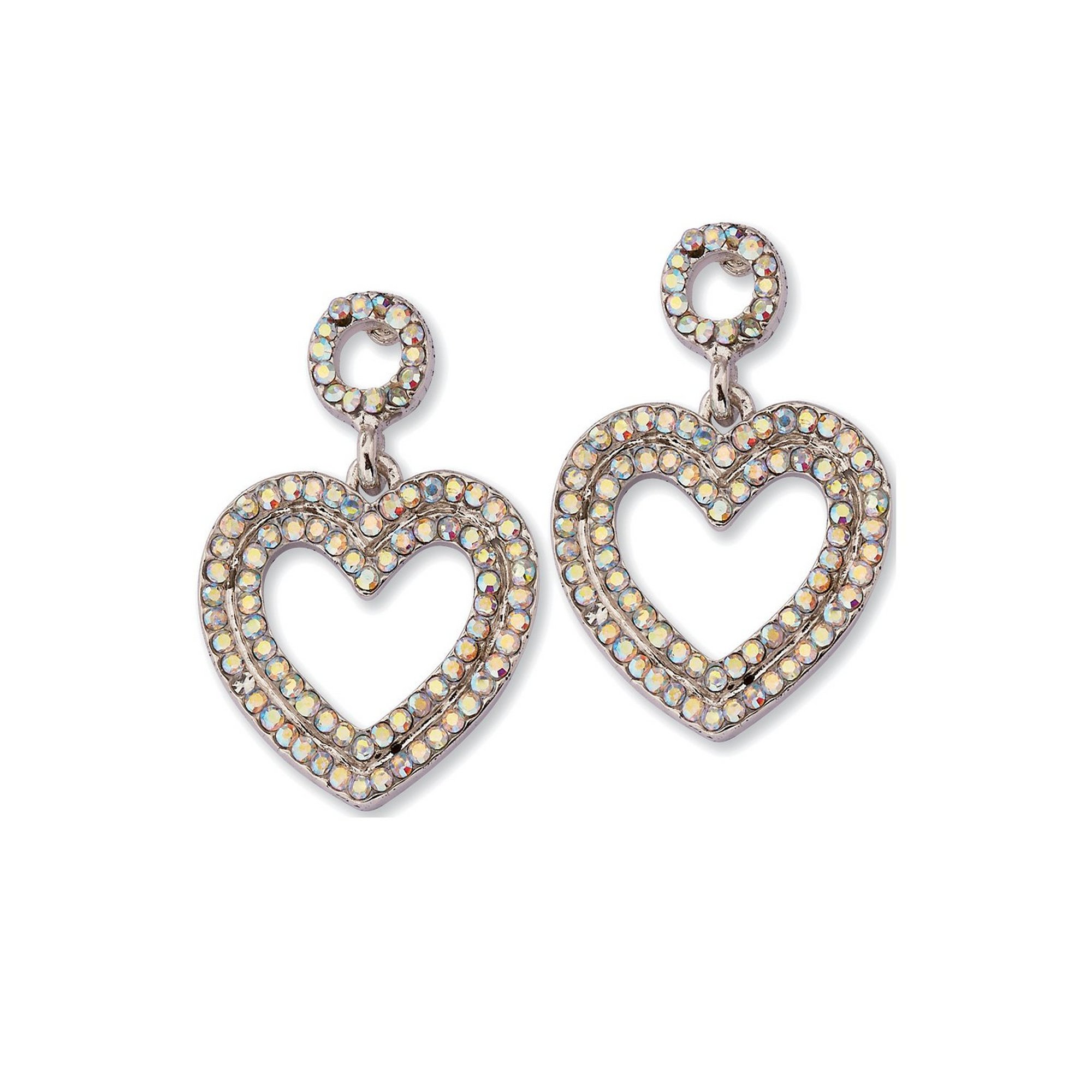 Image of Equilibrium Rainbow Pave Heart Platinum Plated Earrings