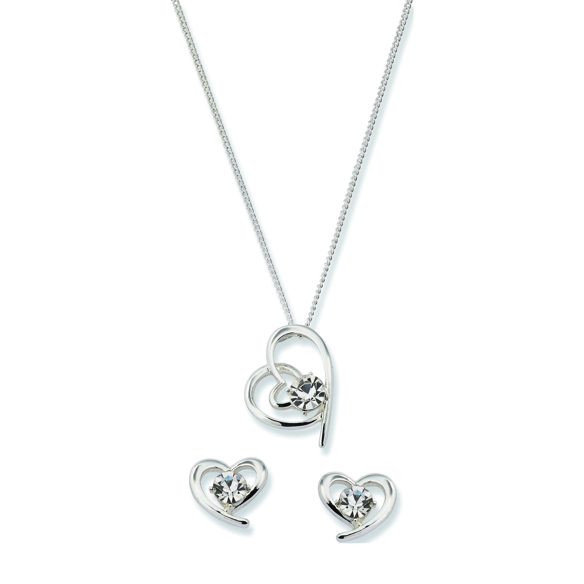 Image of Equilibrium Silver Plated Crystal Heart Necklace and Earrings Set