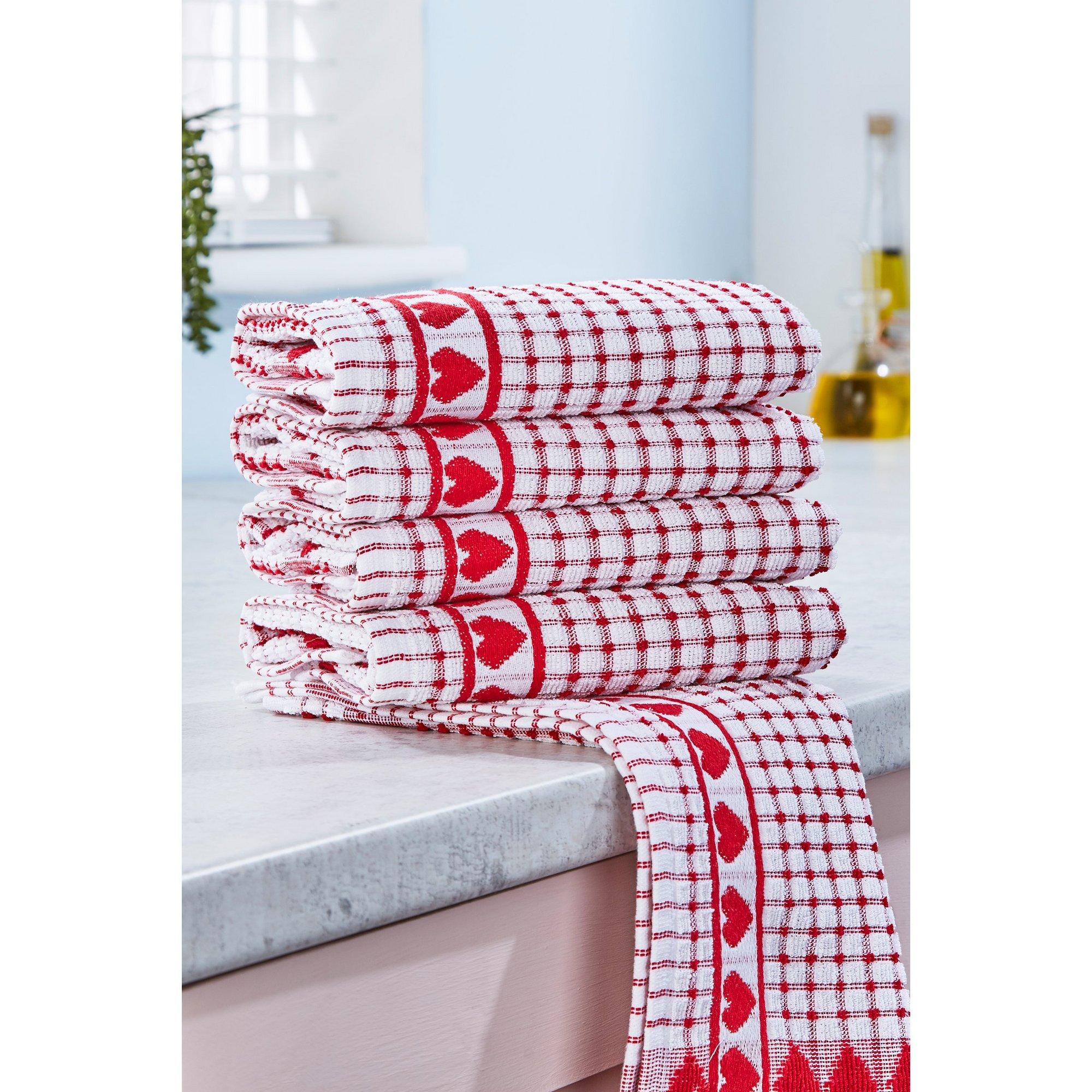 Image of Pack of 5 Heart Design Jacquard Tea Towels