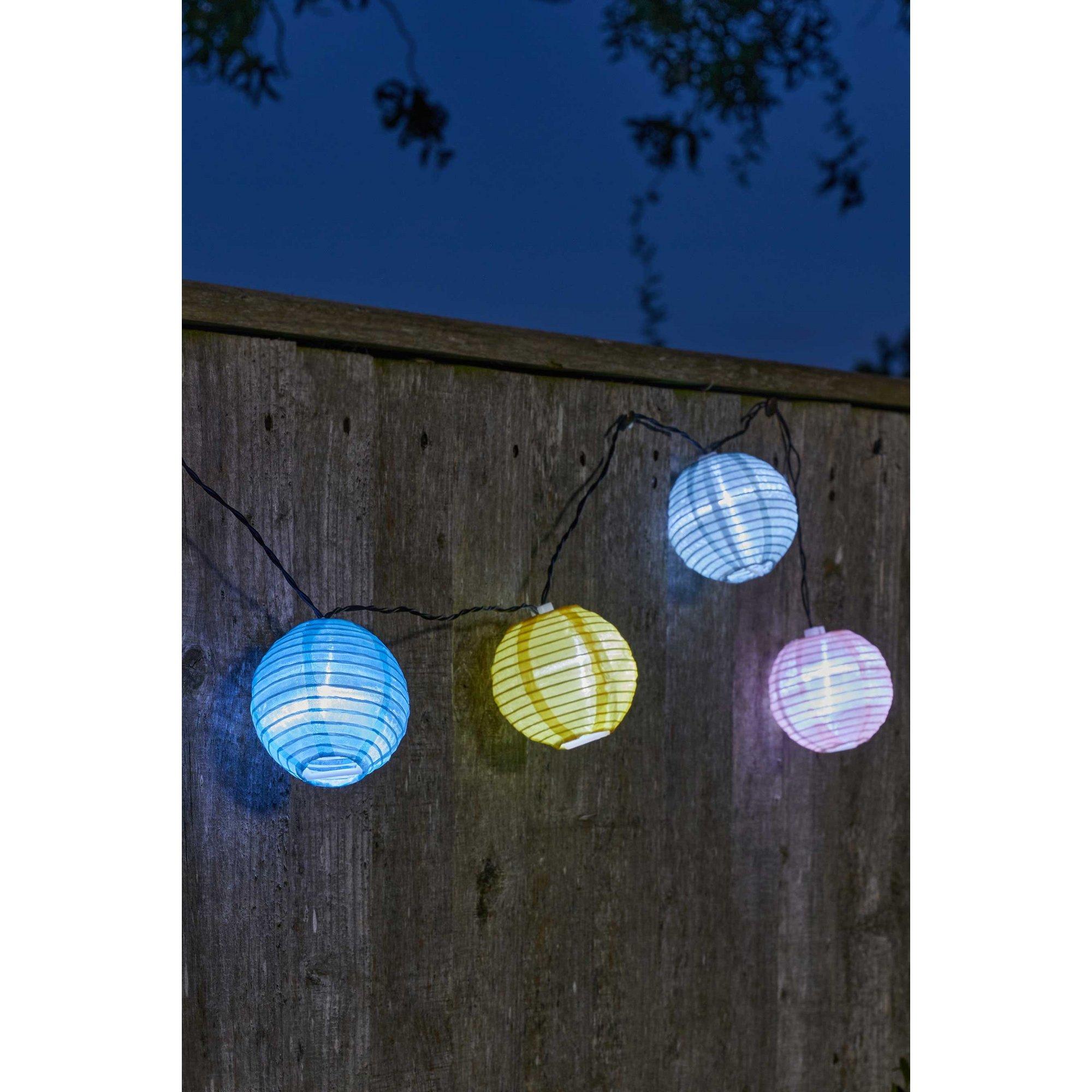 Image of 10 Solar Chinese Lanterns Dual LED String Lights