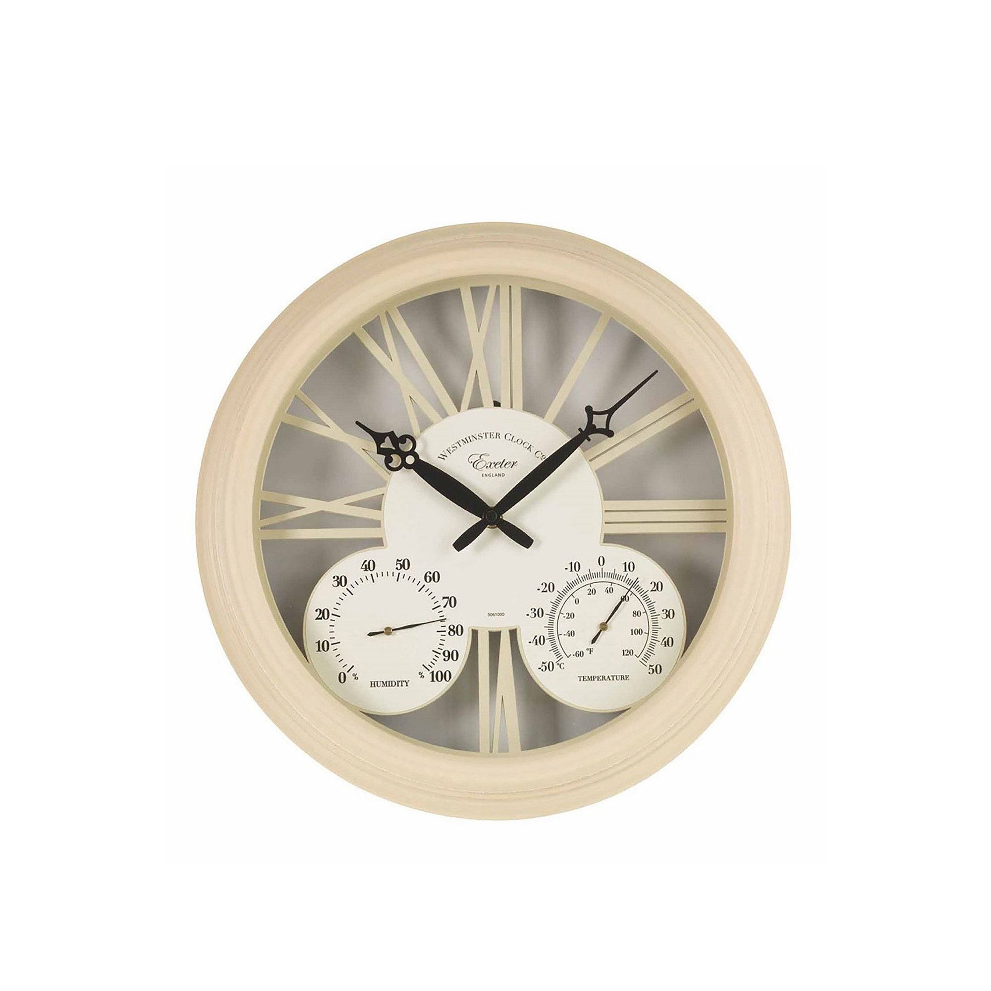 Image of 15 Inch Cream Exeter Wall Clock and Thermometer